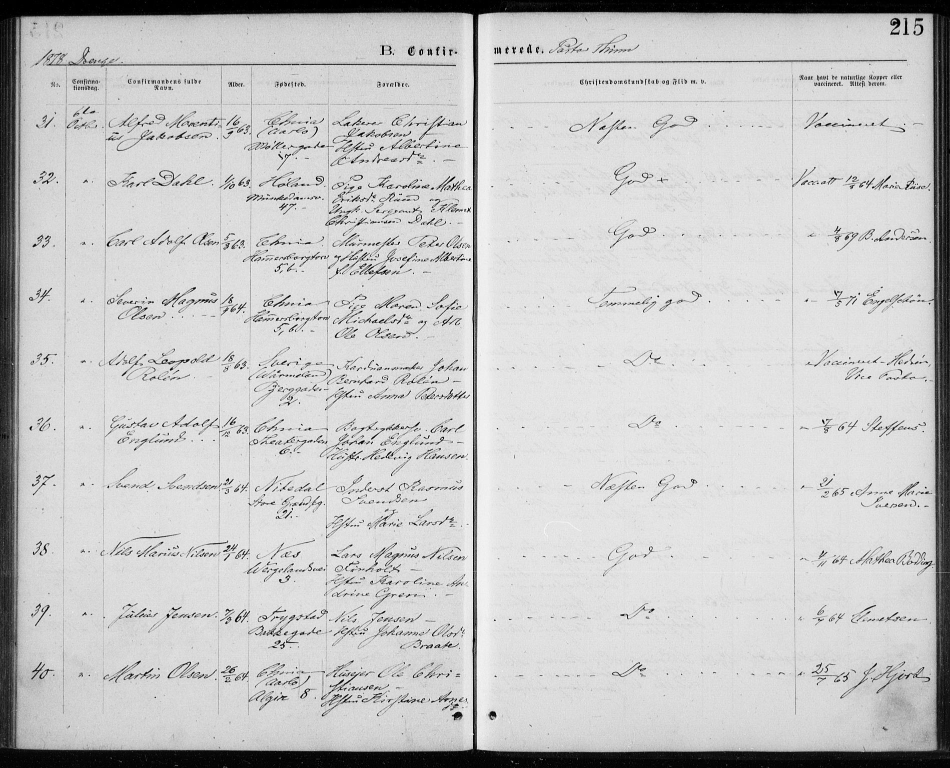 SAO, Trefoldighet prestekontor Kirkebøker, F/Fb/L0002: Ministerialbok nr. II 2, 1871-1880, s. 215