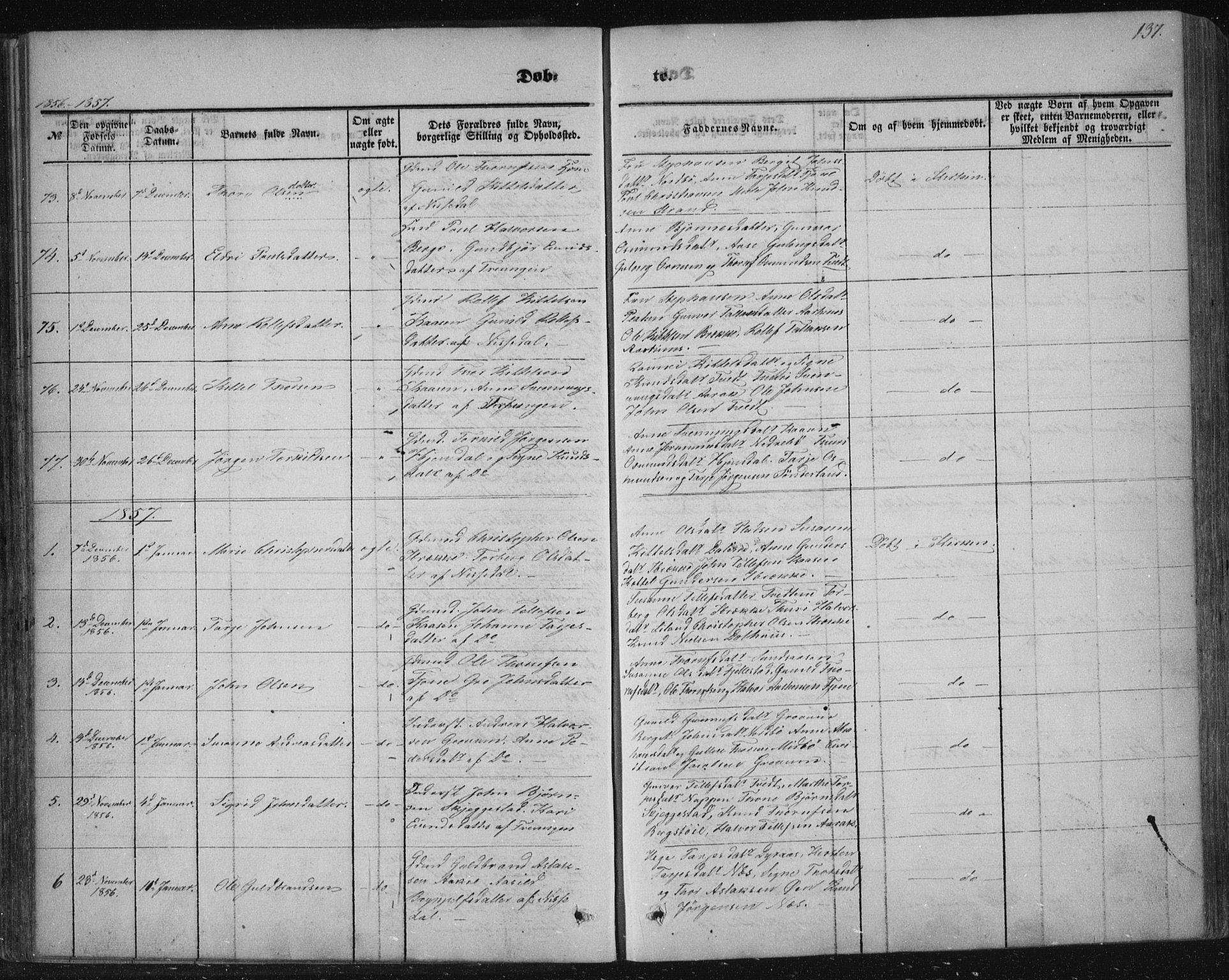 SAKO, Nissedal kirkebøker, F/Fa/L0003: Ministerialbok nr. I 3, 1846-1870, s. 136-137
