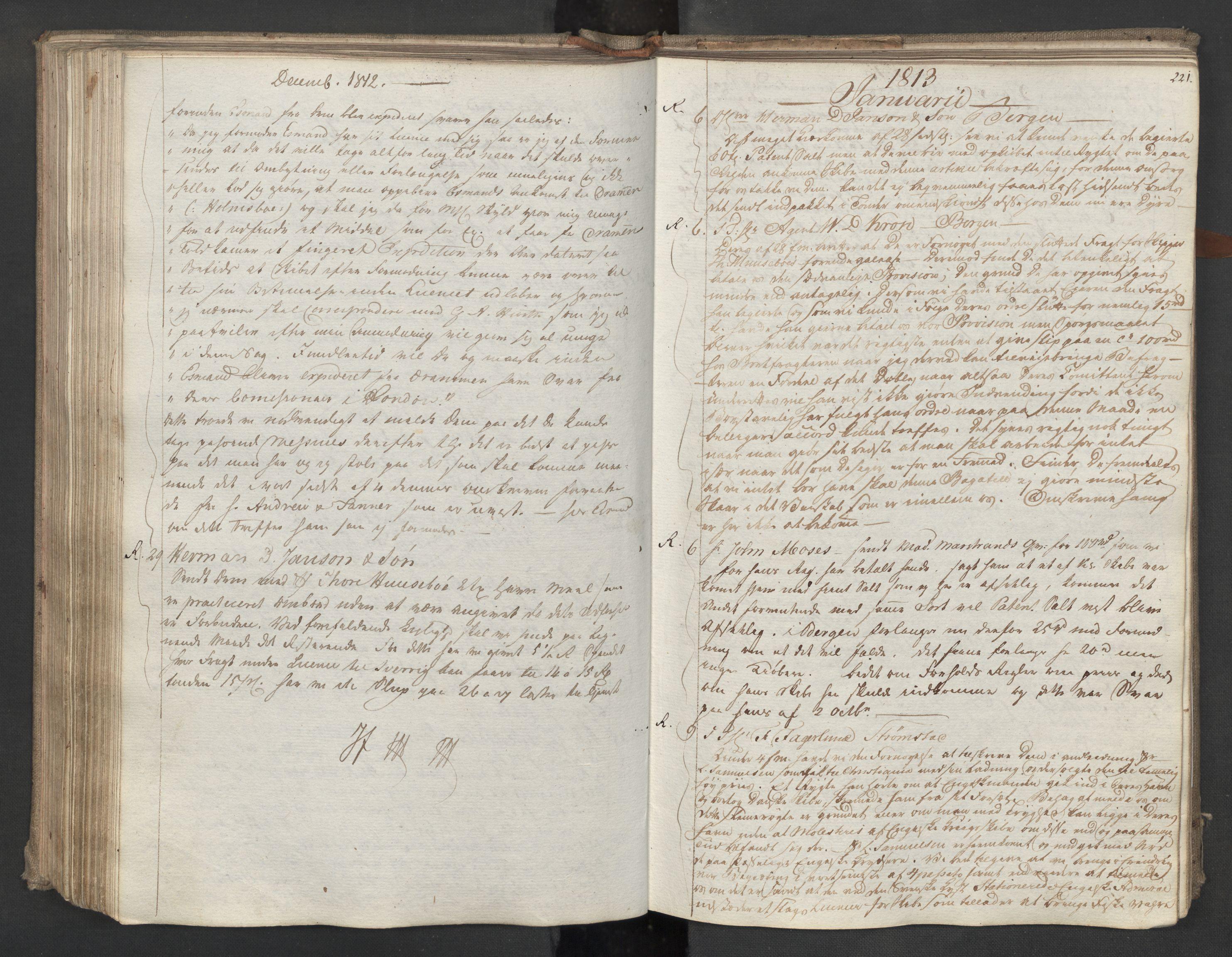 SAST, Pa 0003 - Ploug & Sundt, handelshuset, B/L0009: Kopibok, 1805-1816, s. 220b-221a