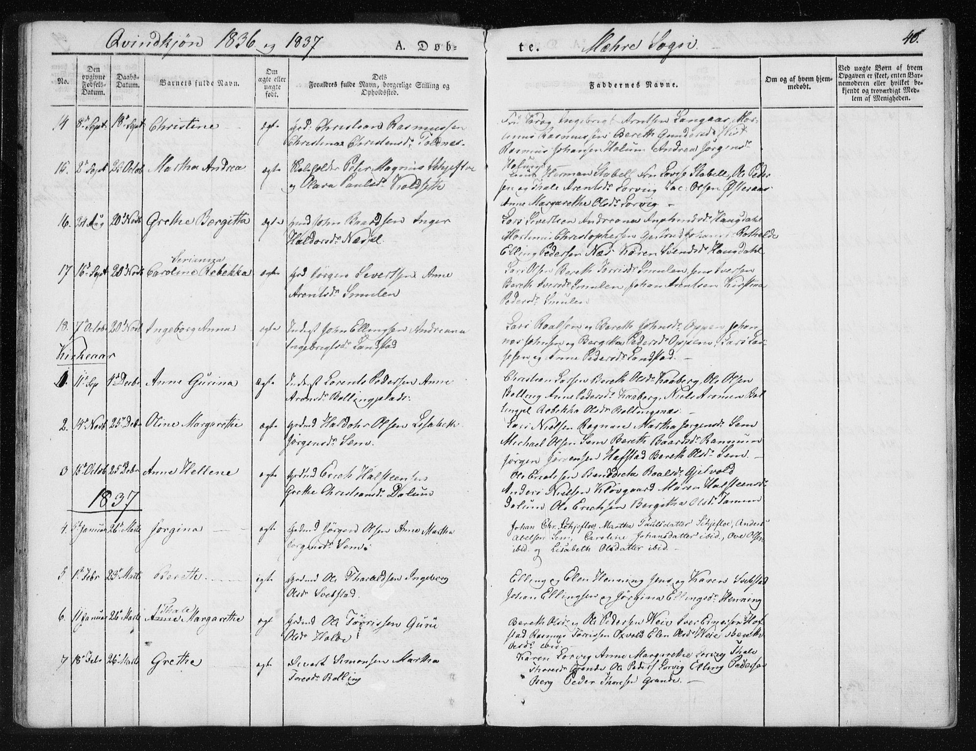 SAT, Ministerialprotokoller, klokkerbøker og fødselsregistre - Nord-Trøndelag, 735/L0339: Ministerialbok nr. 735A06 /1, 1836-1848, s. 40