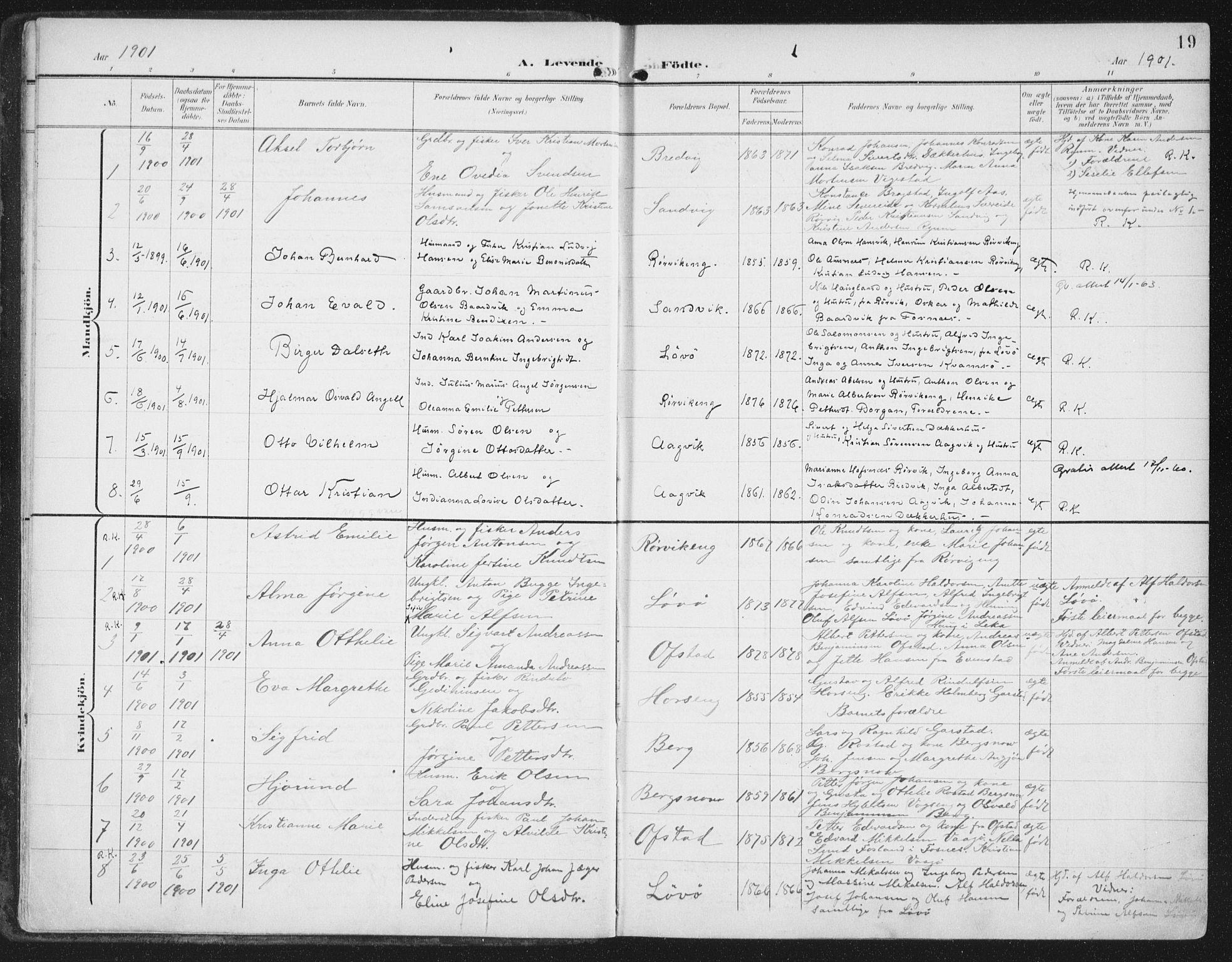 SAT, Ministerialprotokoller, klokkerbøker og fødselsregistre - Nord-Trøndelag, 786/L0688: Ministerialbok nr. 786A04, 1899-1912, s. 19