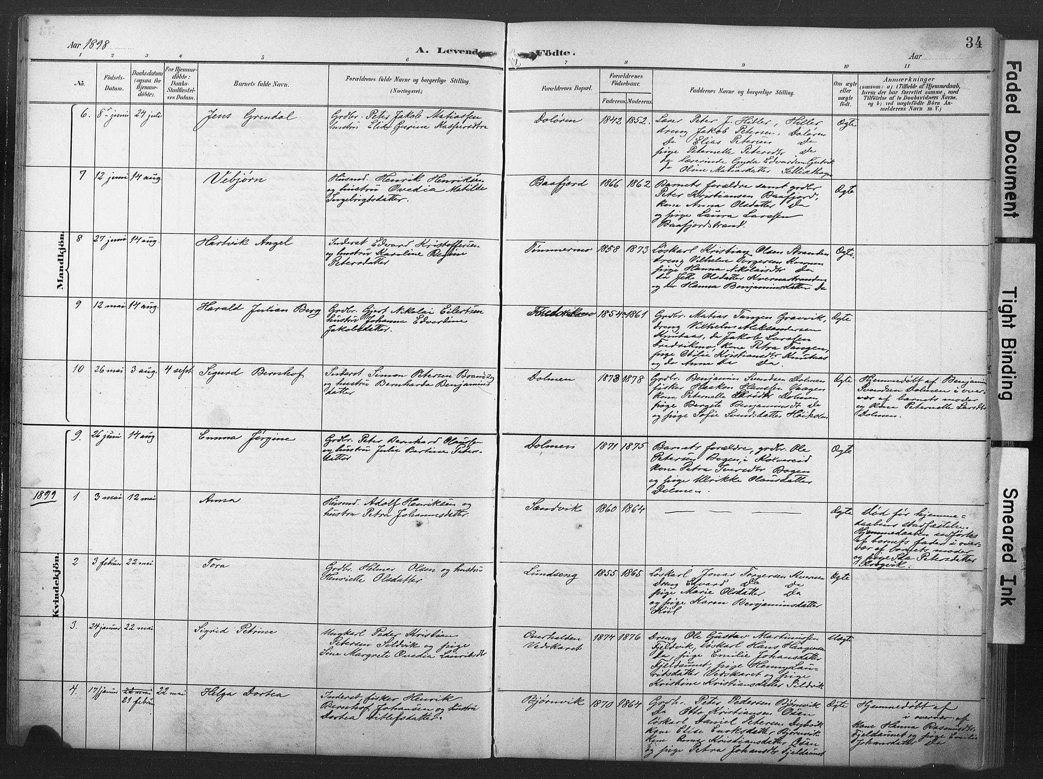 SAT, Ministerialprotokoller, klokkerbøker og fødselsregistre - Nord-Trøndelag, 789/L0706: Klokkerbok nr. 789C01, 1888-1931, s. 34