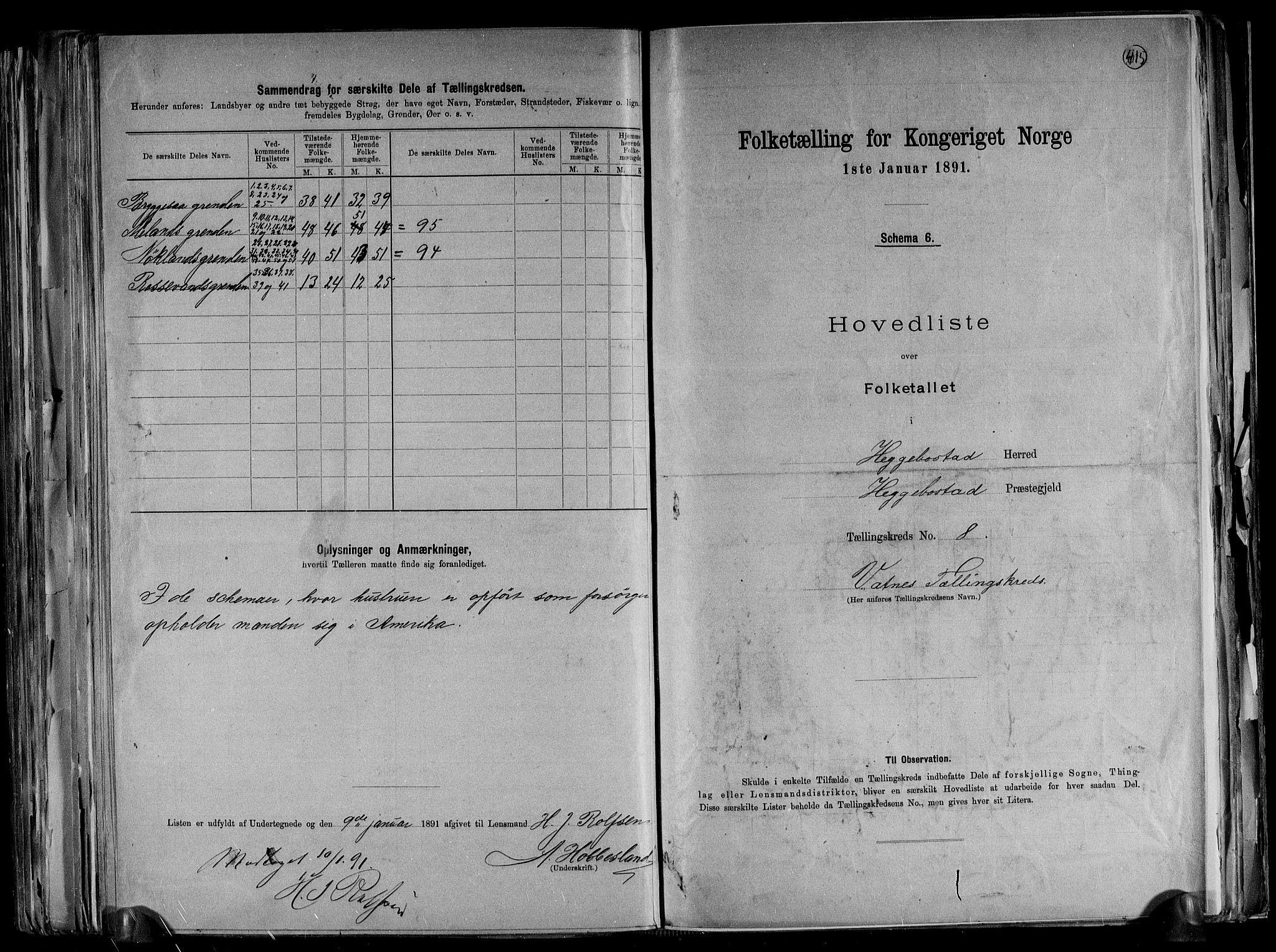 RA, Folketelling 1891 for 1034 Hægebostad herred, 1891, s. 19
