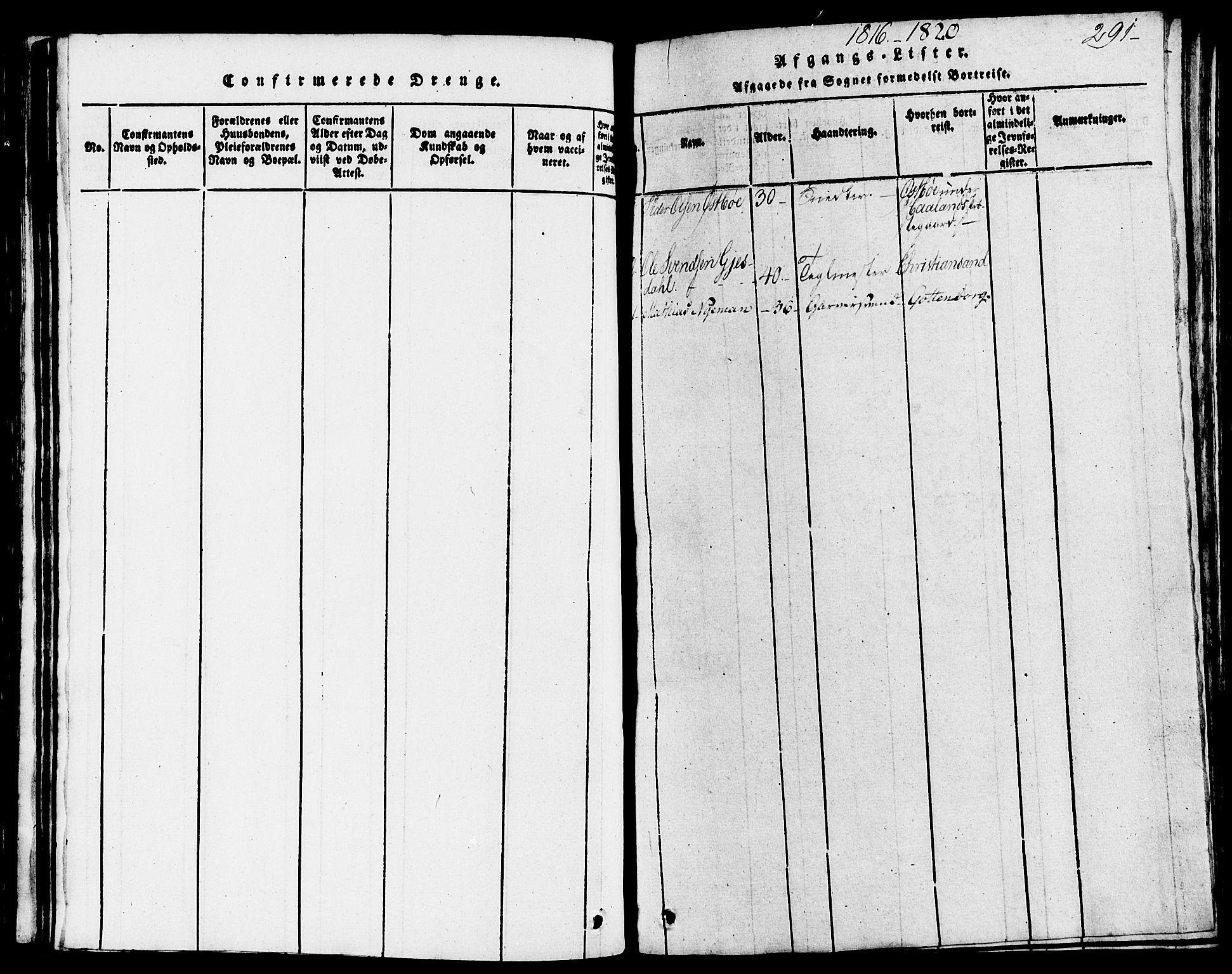 SAST, Domkirken sokneprestkontor, 30/30BB/L0008: Klokkerbok nr. B 8, 1816-1821, s. 291
