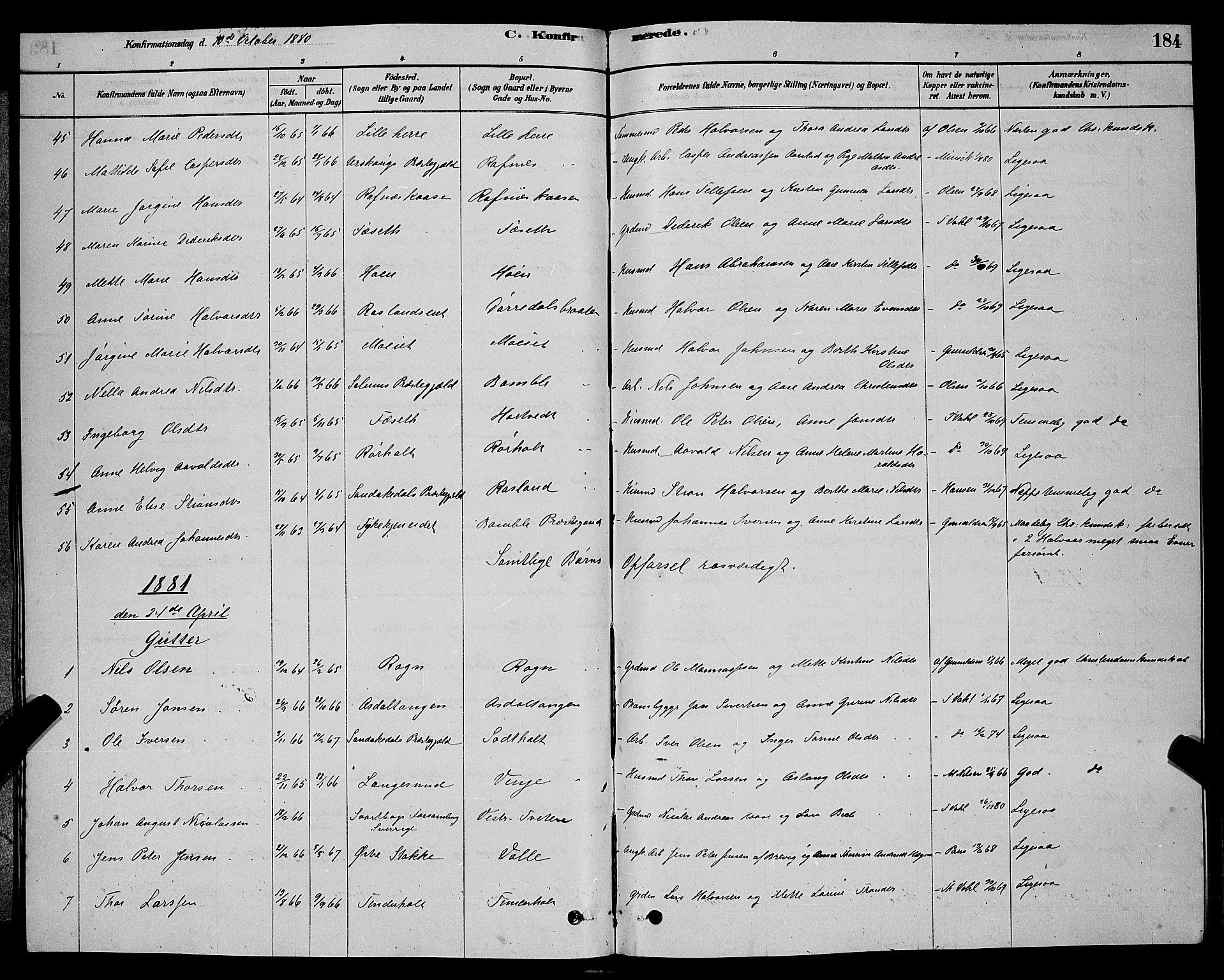 SAKO, Bamble kirkebøker, G/Ga/L0008: Klokkerbok nr. I 8, 1878-1888, s. 184