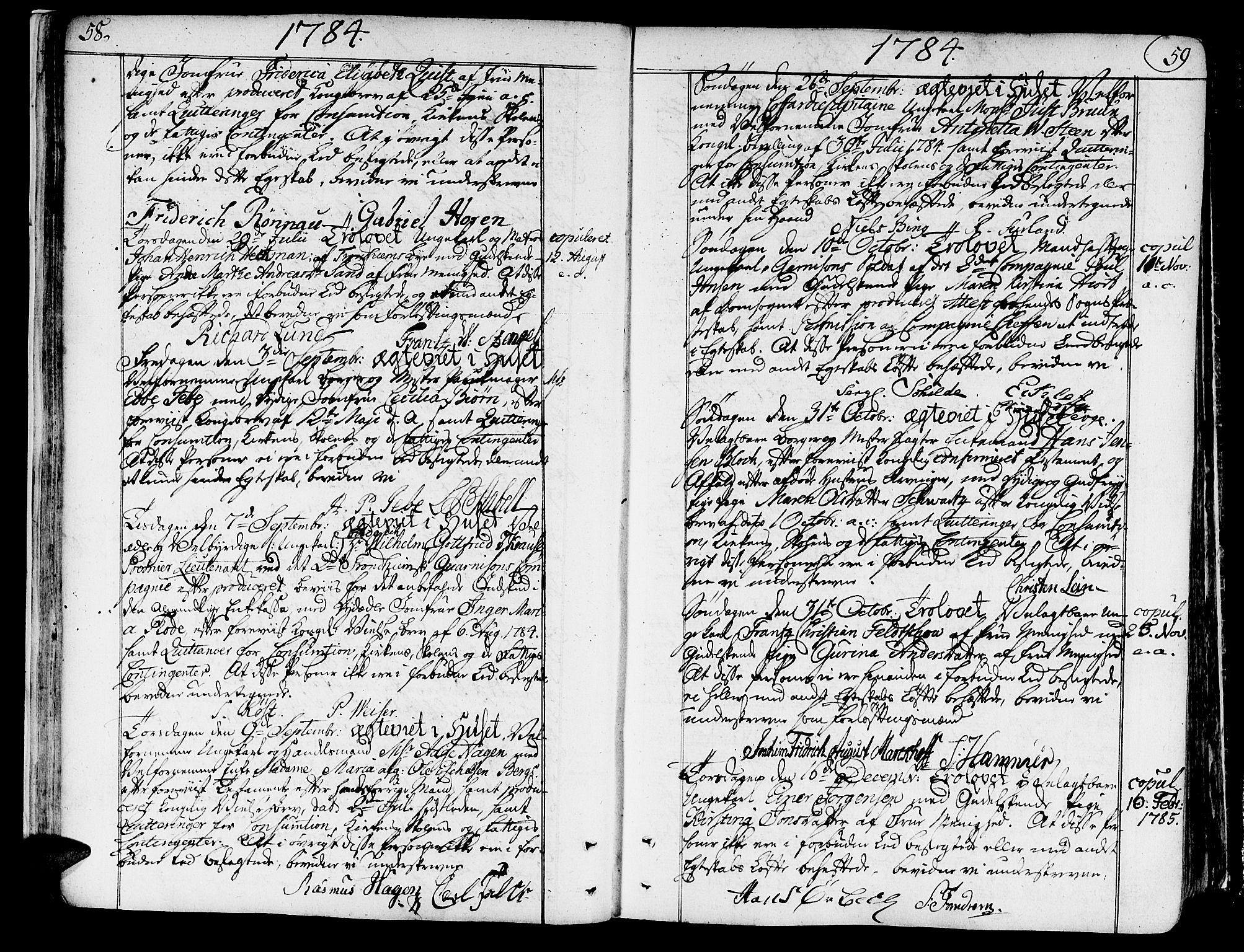 SAT, Ministerialprotokoller, klokkerbøker og fødselsregistre - Sør-Trøndelag, 602/L0105: Ministerialbok nr. 602A03, 1774-1814, s. 58-59
