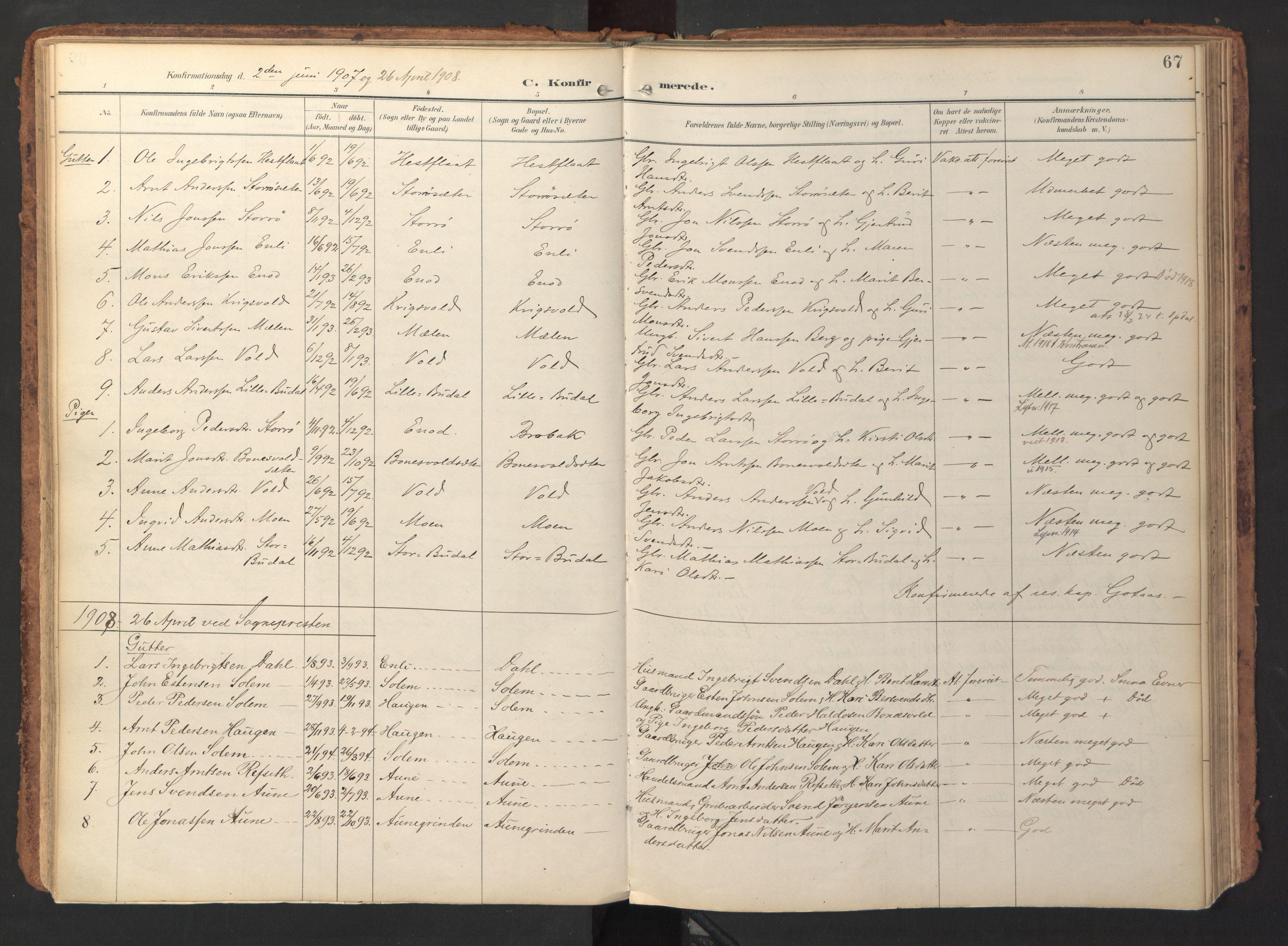 SAT, Ministerialprotokoller, klokkerbøker og fødselsregistre - Sør-Trøndelag, 690/L1050: Ministerialbok nr. 690A01, 1889-1929, s. 67