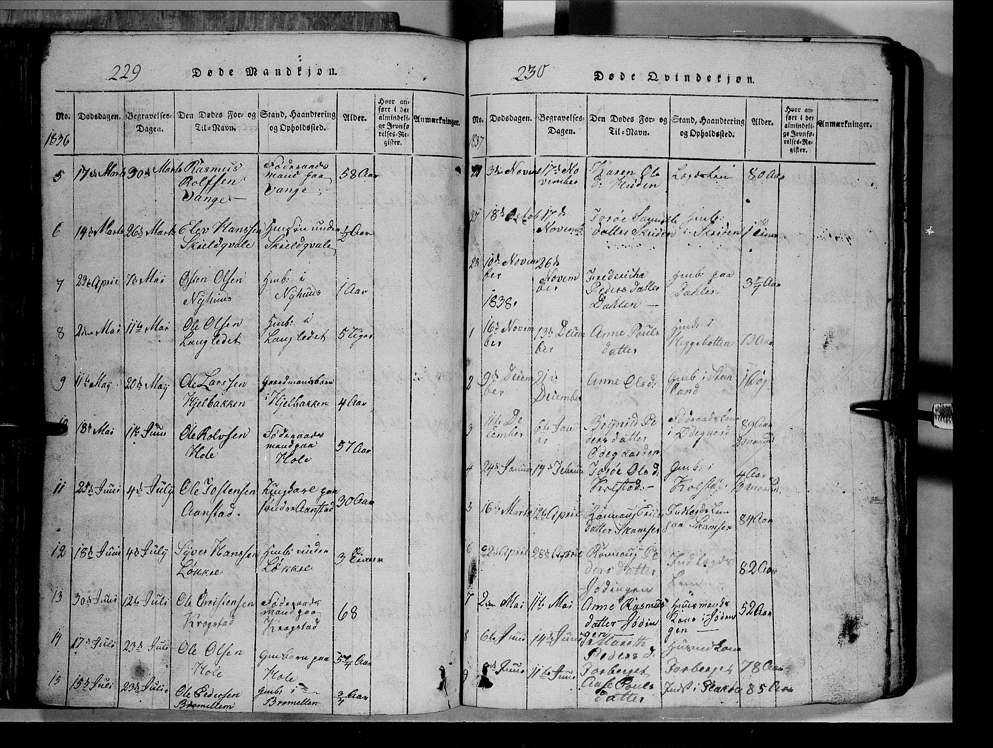 SAH, Lom prestekontor, L/L0003: Klokkerbok nr. 3, 1815-1844, s. 229-230