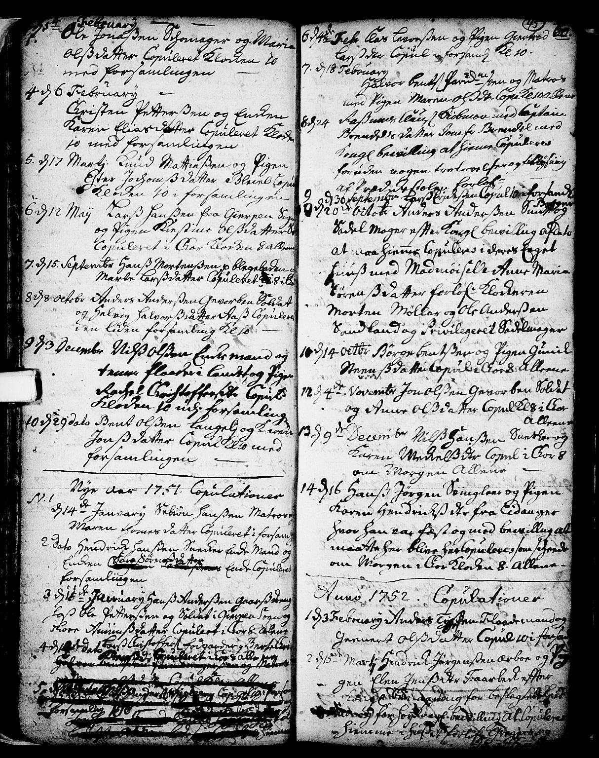 SAKO, Skien kirkebøker, F/Fa/L0002: Ministerialbok nr. 2, 1716-1757, s. 45