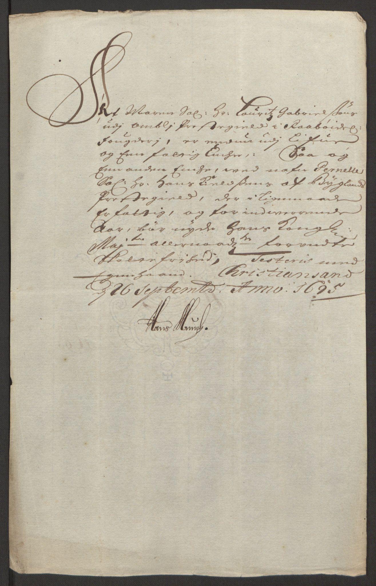 RA, Rentekammeret inntil 1814, Reviderte regnskaper, Fogderegnskap, R40/L2444: Fogderegnskap Råbyggelag, 1693-1696, s. 249