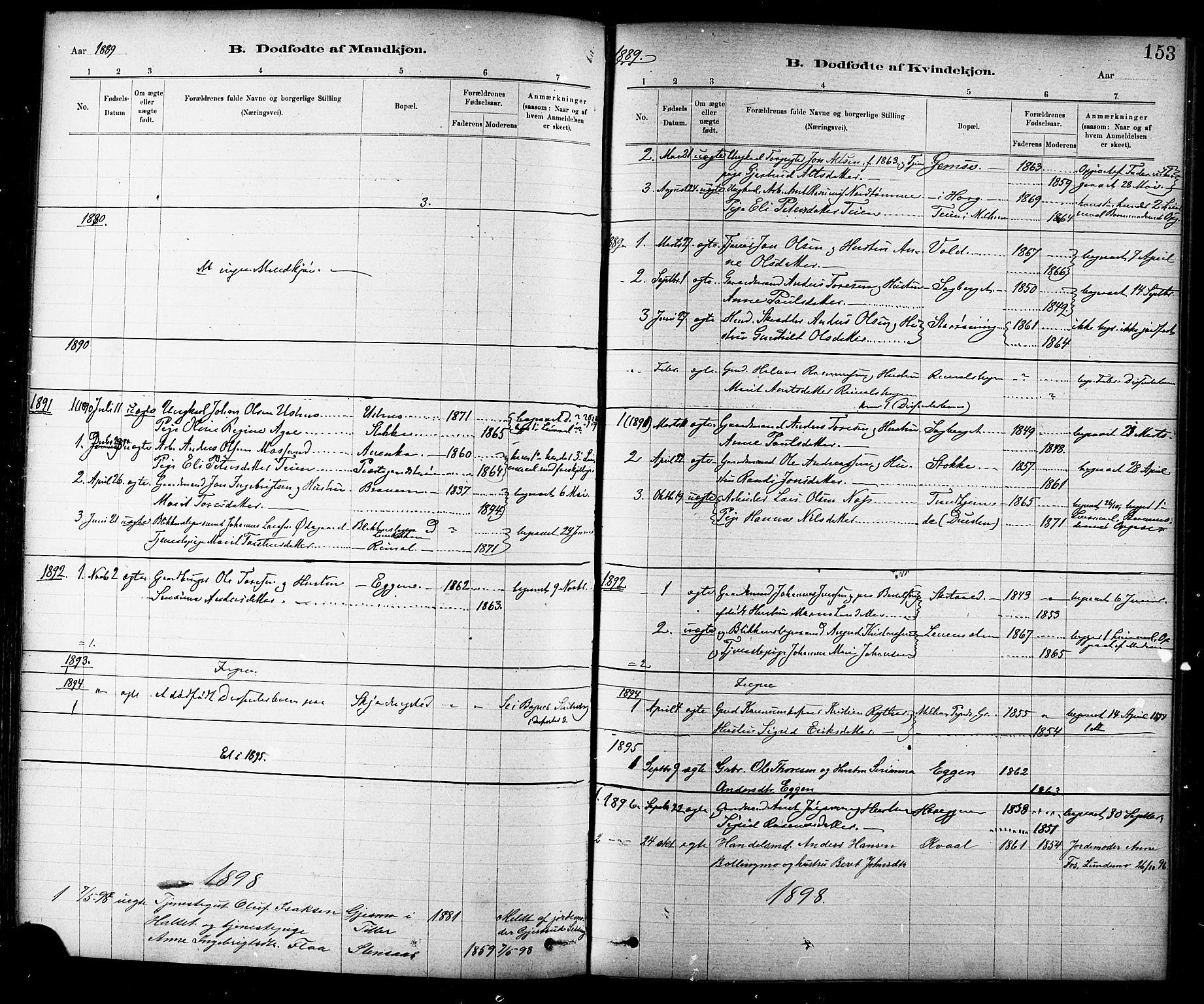 SAT, Ministerialprotokoller, klokkerbøker og fødselsregistre - Sør-Trøndelag, 691/L1094: Klokkerbok nr. 691C05, 1879-1911, s. 153