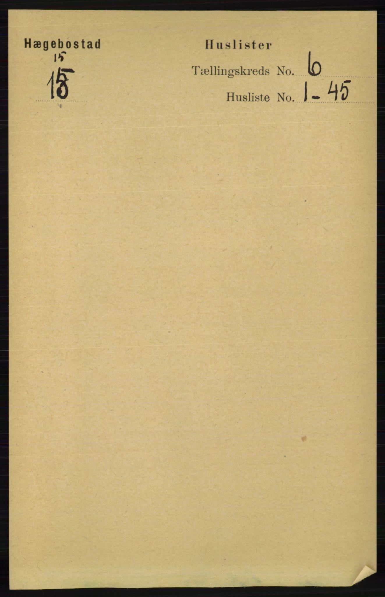RA, Folketelling 1891 for 1034 Hægebostad herred, 1891, s. 1796