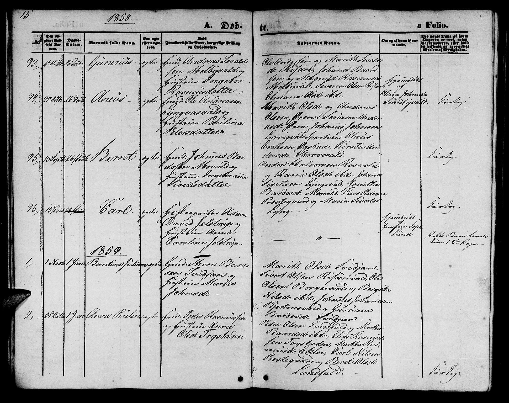 SAT, Ministerialprotokoller, klokkerbøker og fødselsregistre - Nord-Trøndelag, 723/L0254: Klokkerbok nr. 723C02, 1858-1868, s. 15