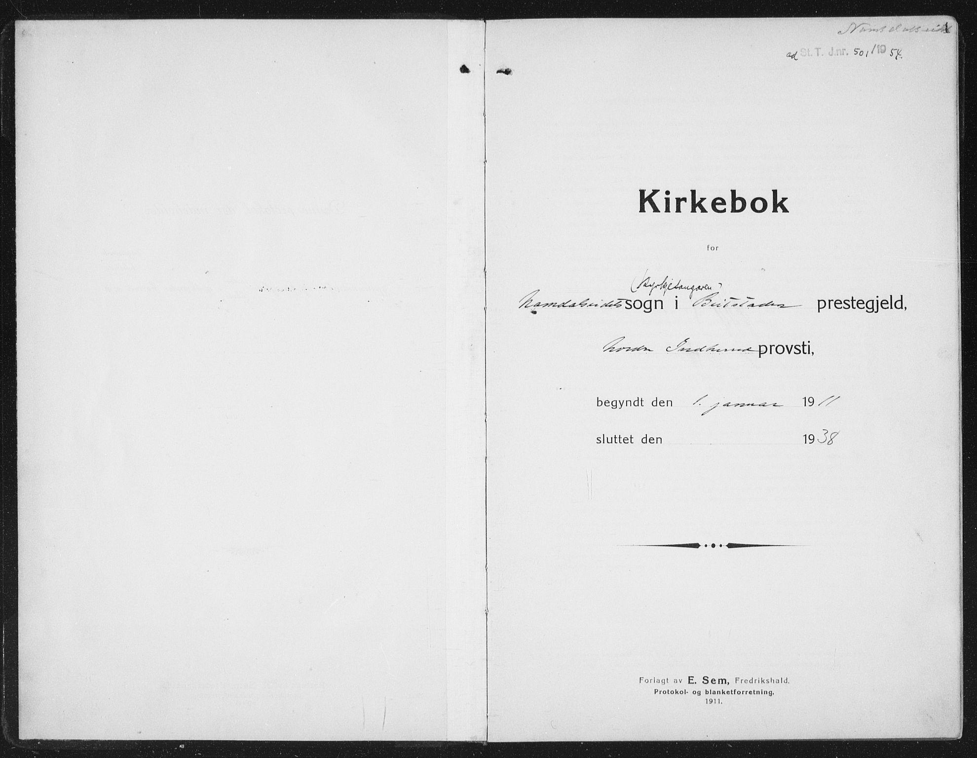 SAT, Ministerialprotokoller, klokkerbøker og fødselsregistre - Nord-Trøndelag, 742/L0413: Klokkerbok nr. 742C04, 1911-1938, s. 1