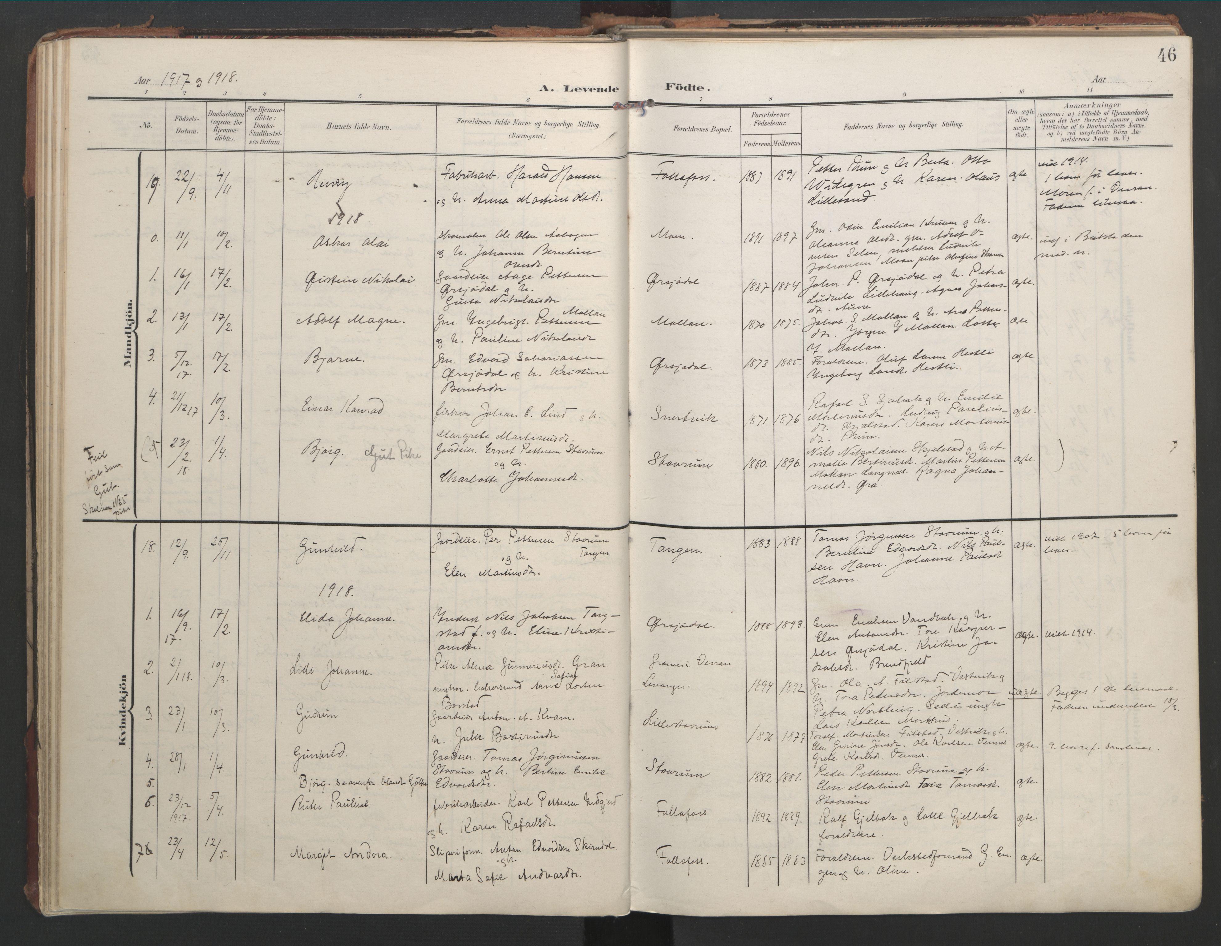 SAT, Ministerialprotokoller, klokkerbøker og fødselsregistre - Nord-Trøndelag, 744/L0421: Ministerialbok nr. 744A05, 1905-1930, s. 46
