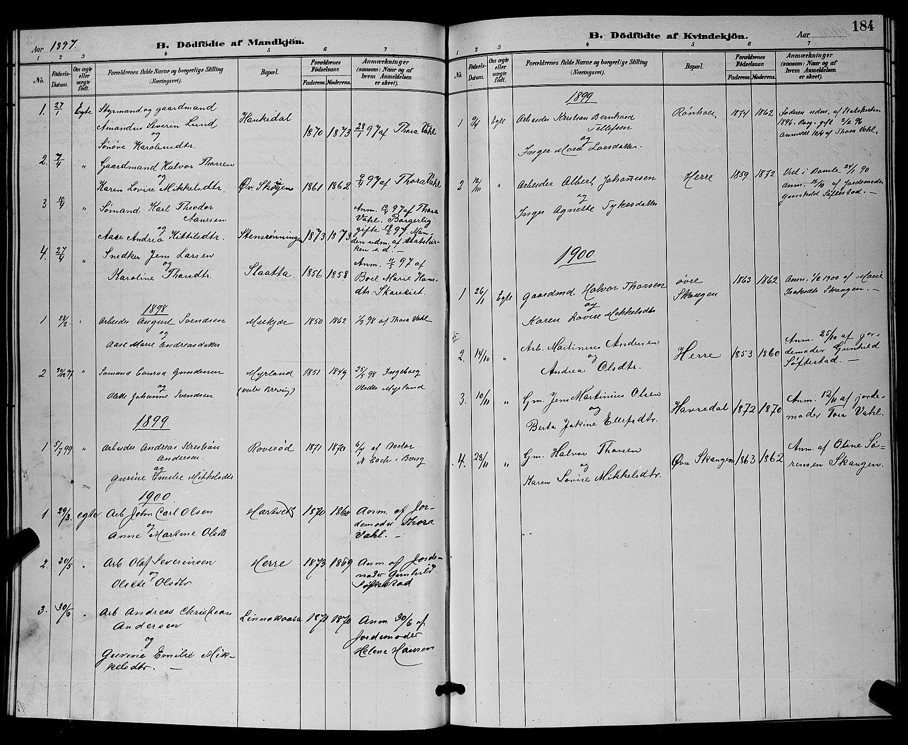 SAKO, Bamble kirkebøker, G/Ga/L0009: Klokkerbok nr. I 9, 1888-1900, s. 184