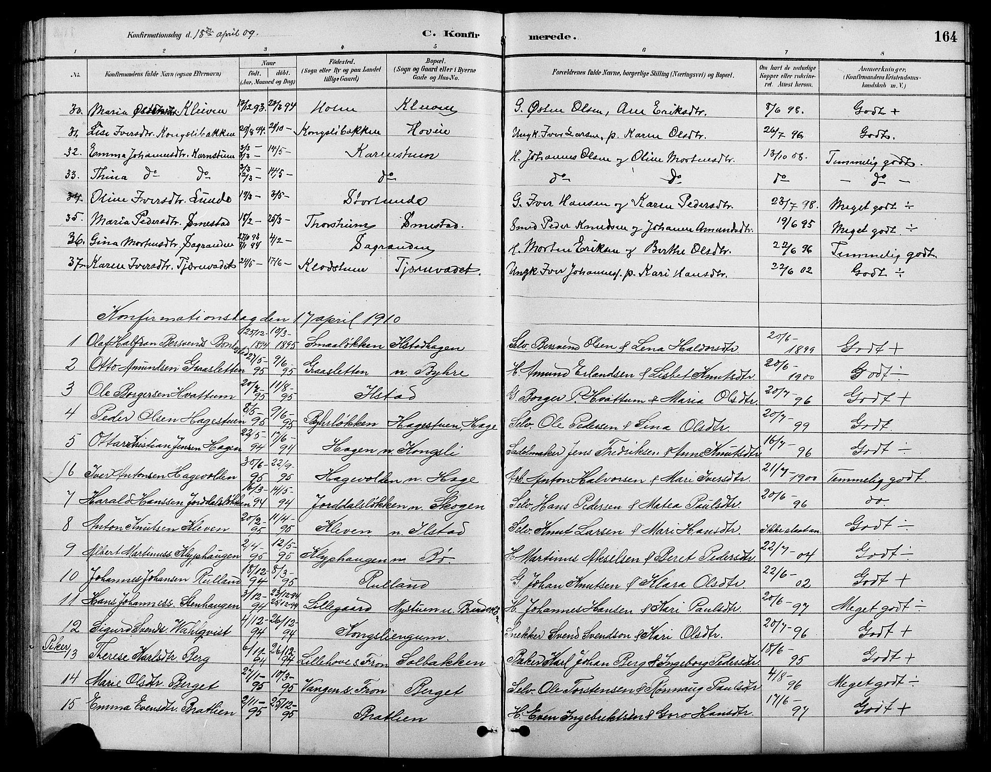 SAH, Nord-Fron prestekontor, Klokkerbok nr. 4, 1884-1914, s. 164