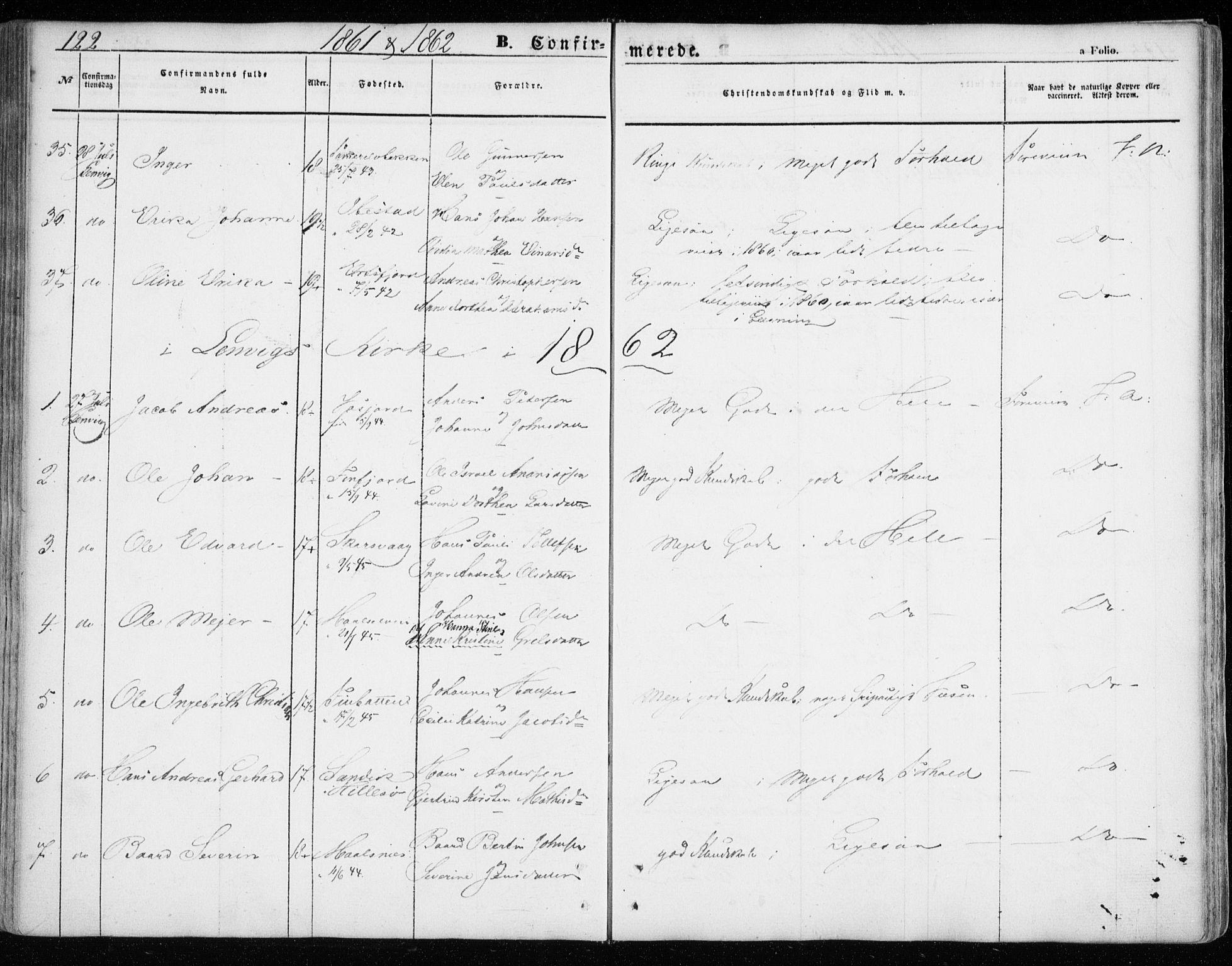 SATØ, Lenvik sokneprestembete, H/Ha: Ministerialbok nr. 7, 1855-1865, s. 122