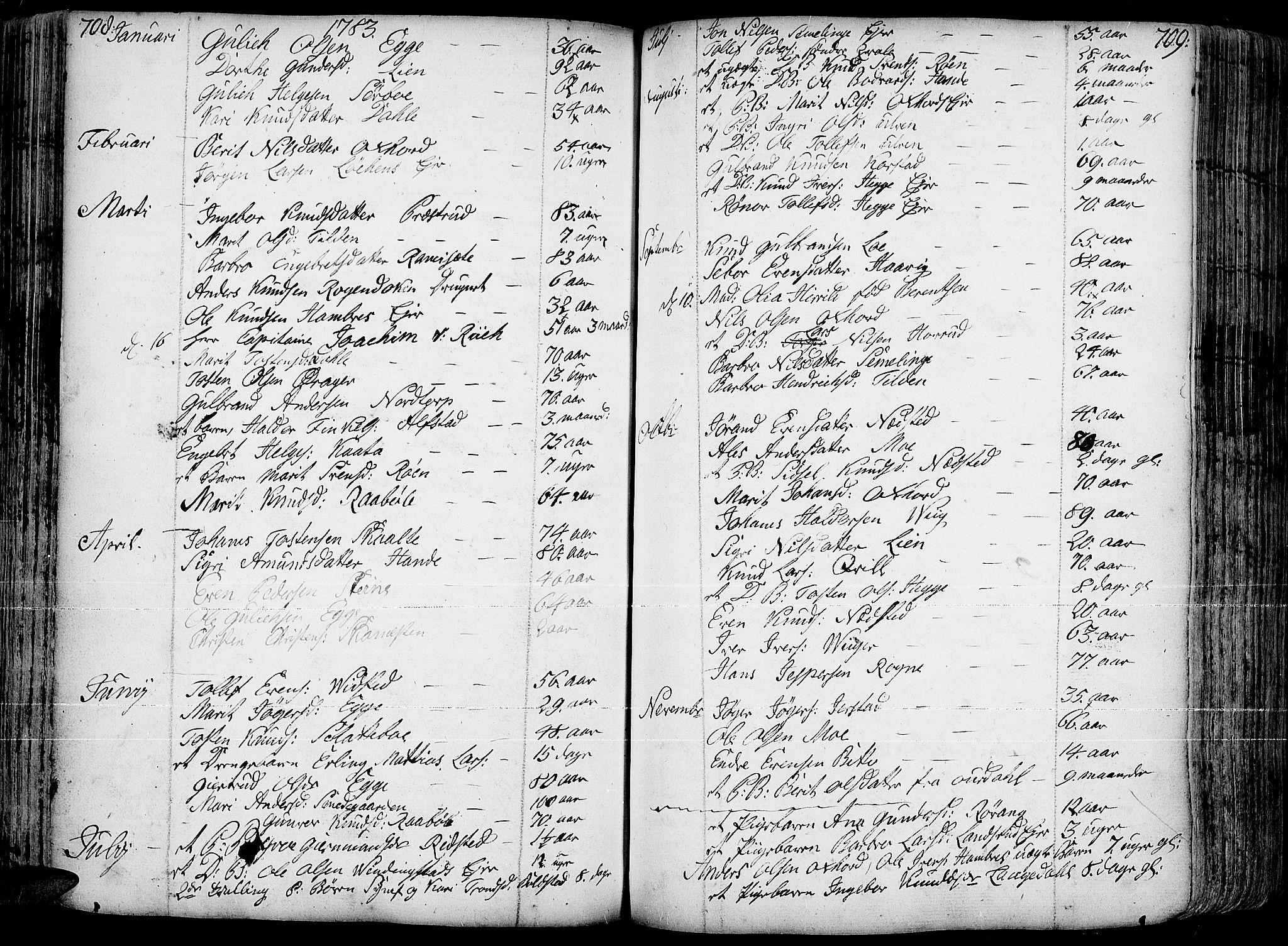SAH, Slidre prestekontor, Ministerialbok nr. 1, 1724-1814, s. 708-709