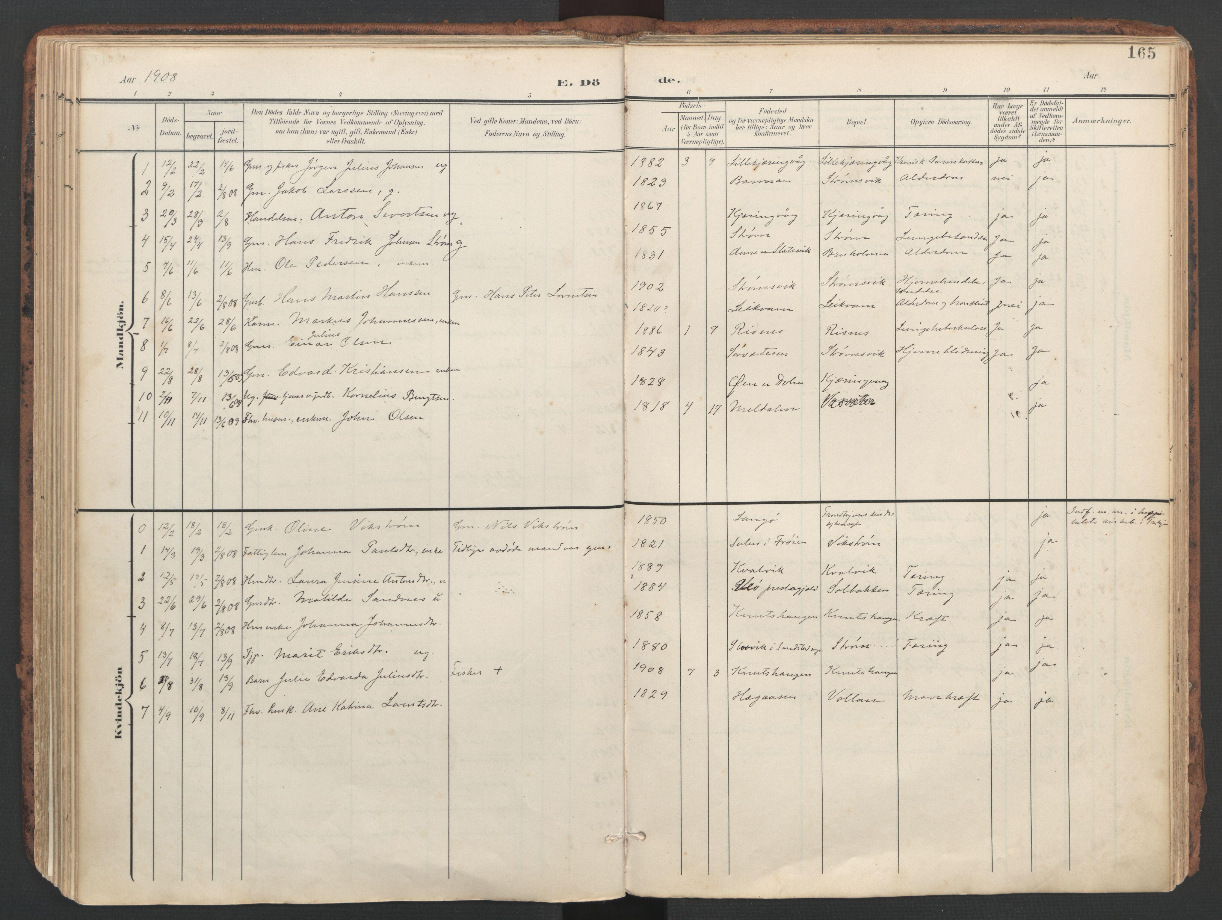 SAT, Ministerialprotokoller, klokkerbøker og fødselsregistre - Sør-Trøndelag, 634/L0537: Ministerialbok nr. 634A13, 1896-1922, s. 165