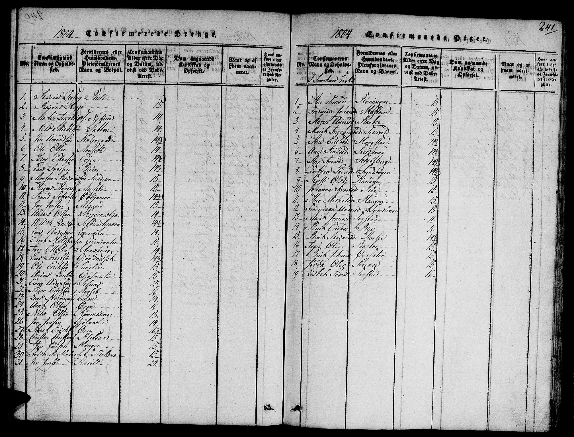 SAT, Ministerialprotokoller, klokkerbøker og fødselsregistre - Sør-Trøndelag, 668/L0803: Ministerialbok nr. 668A03, 1800-1826, s. 241
