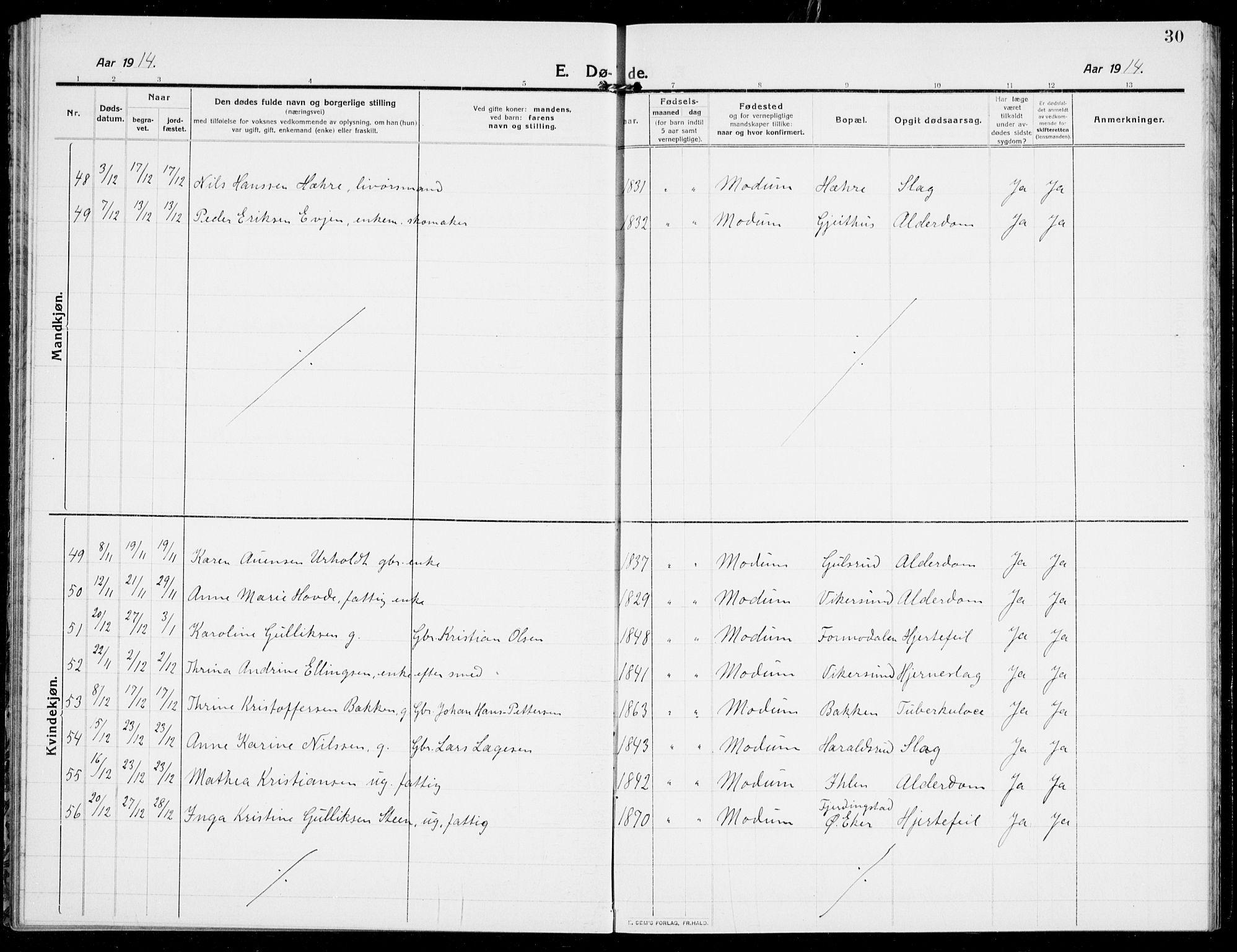 SAKO, Modum kirkebøker, G/Ga/L0011: Klokkerbok nr. I 11, 1910-1925, s. 30