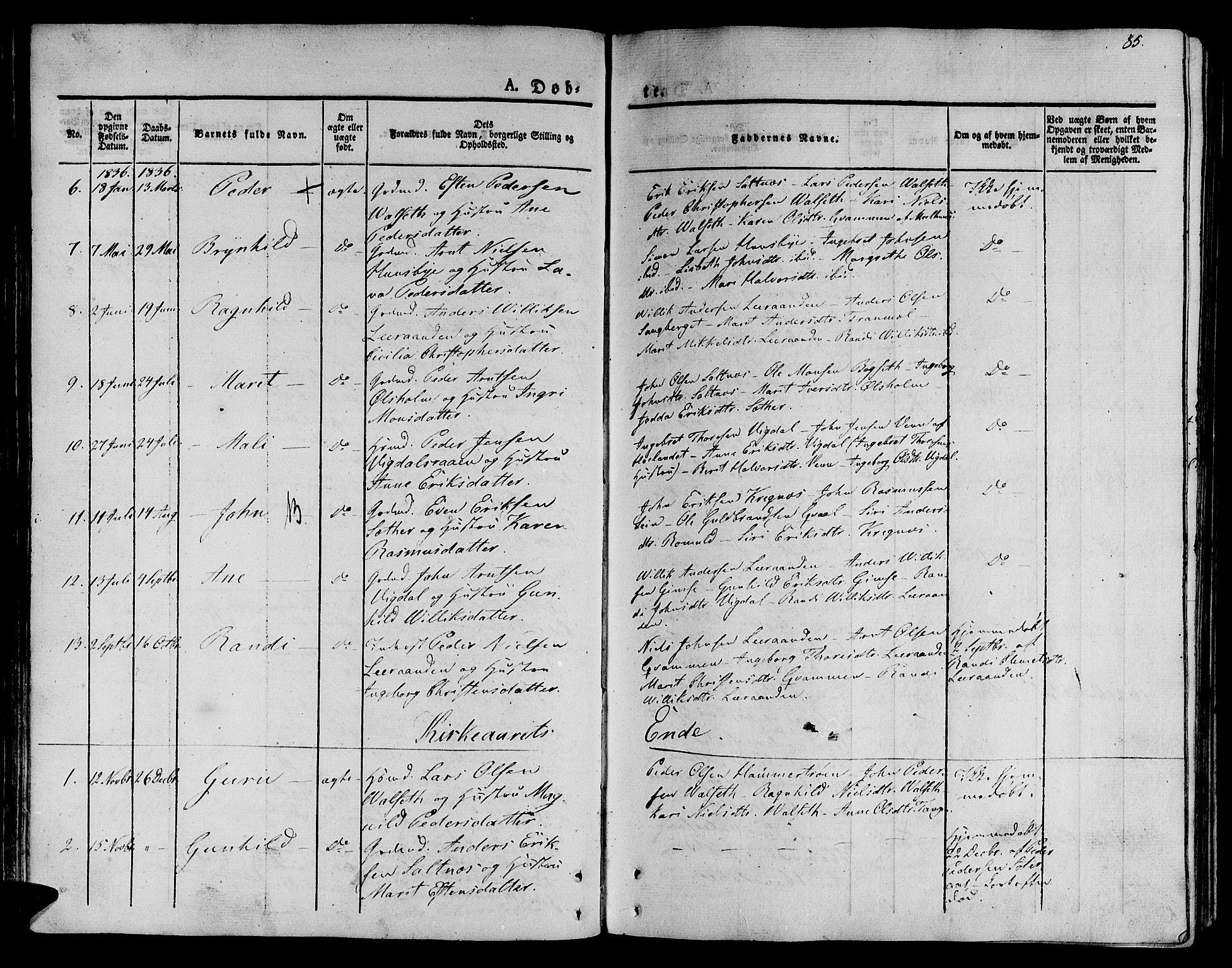 SAT, Ministerialprotokoller, klokkerbøker og fødselsregistre - Sør-Trøndelag, 612/L0375: Ministerialbok nr. 612A07 /2, 1829-1845, s. 85