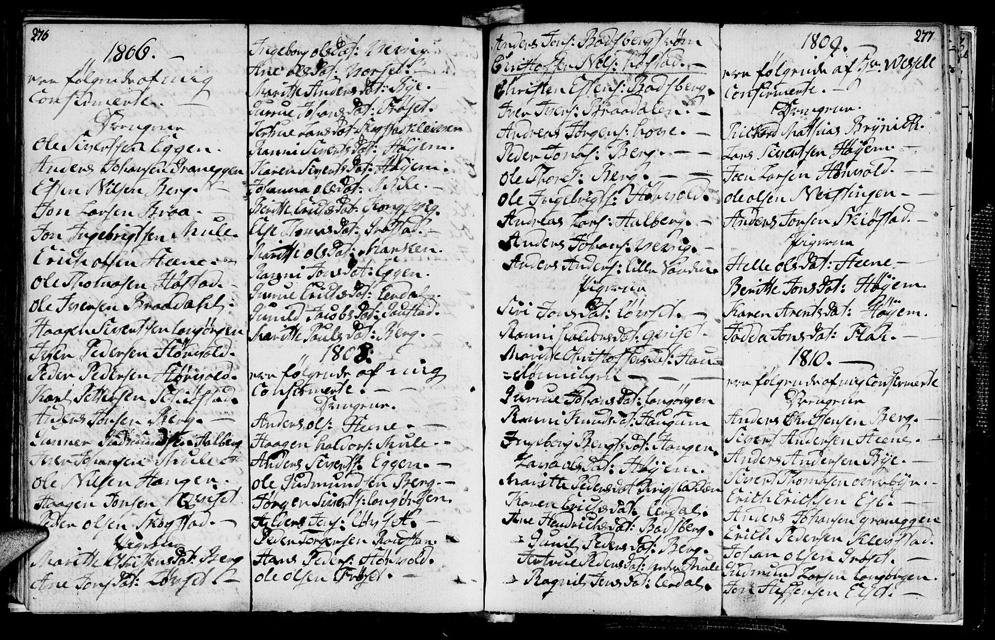 SAT, Ministerialprotokoller, klokkerbøker og fødselsregistre - Sør-Trøndelag, 612/L0371: Ministerialbok nr. 612A05, 1803-1816, s. 276-277