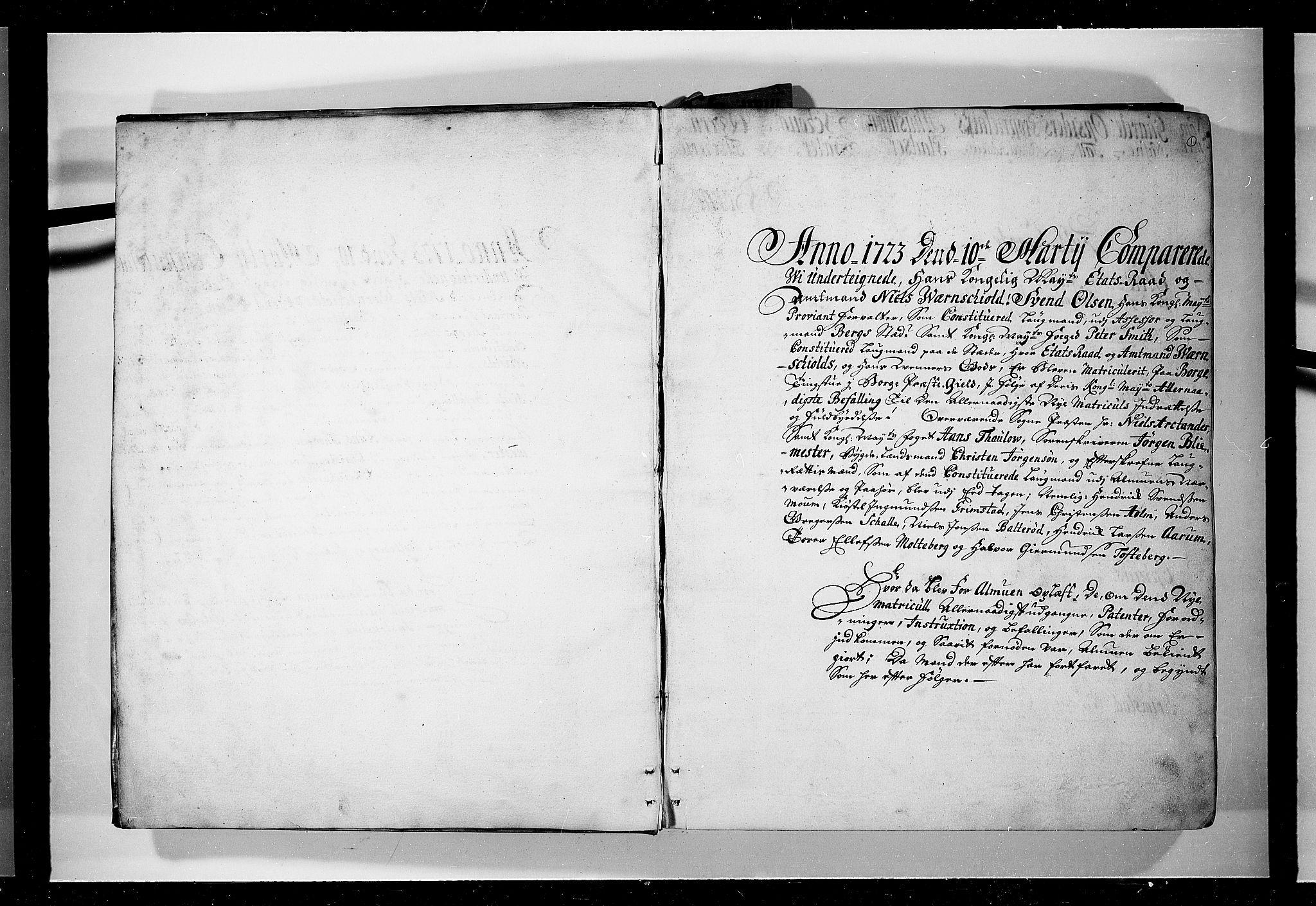 RA, Rentekammeret inntil 1814, Realistisk ordnet avdeling, N/Nb/Nbf/L0095: Moss, Onsøy, Tune og Veme eksaminasjonsprotokoll, 1723, s. 1a
