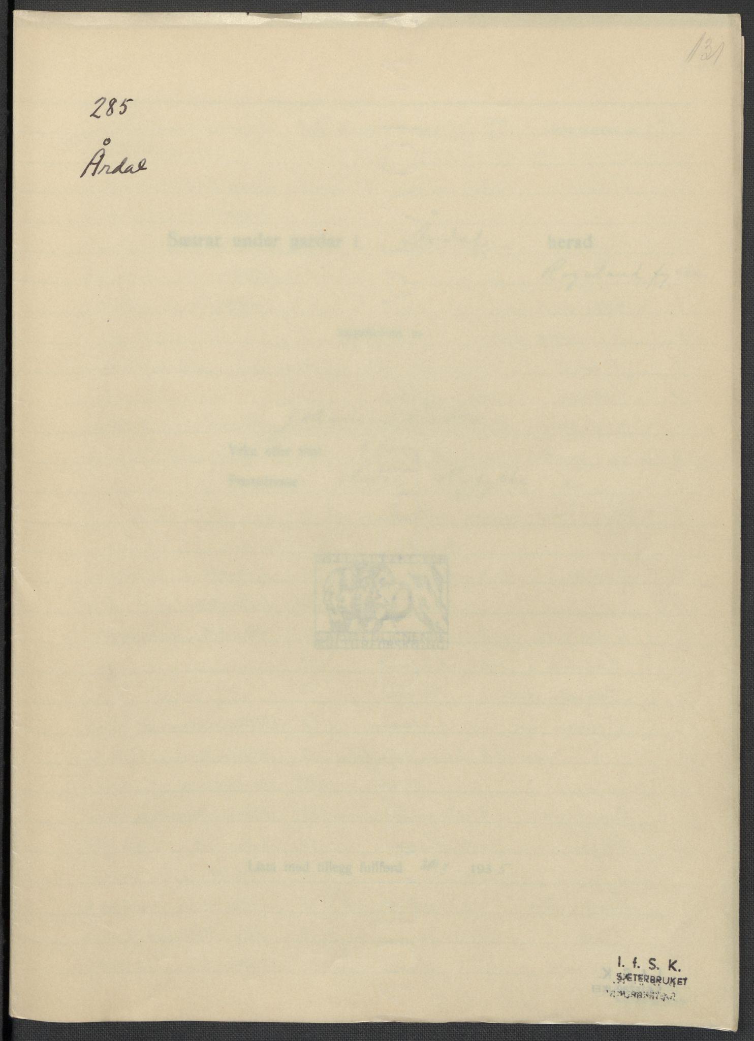 RA, Instituttet for sammenlignende kulturforskning, F/Fc/L0009: Eske B9:, 1932-1935, s. 131