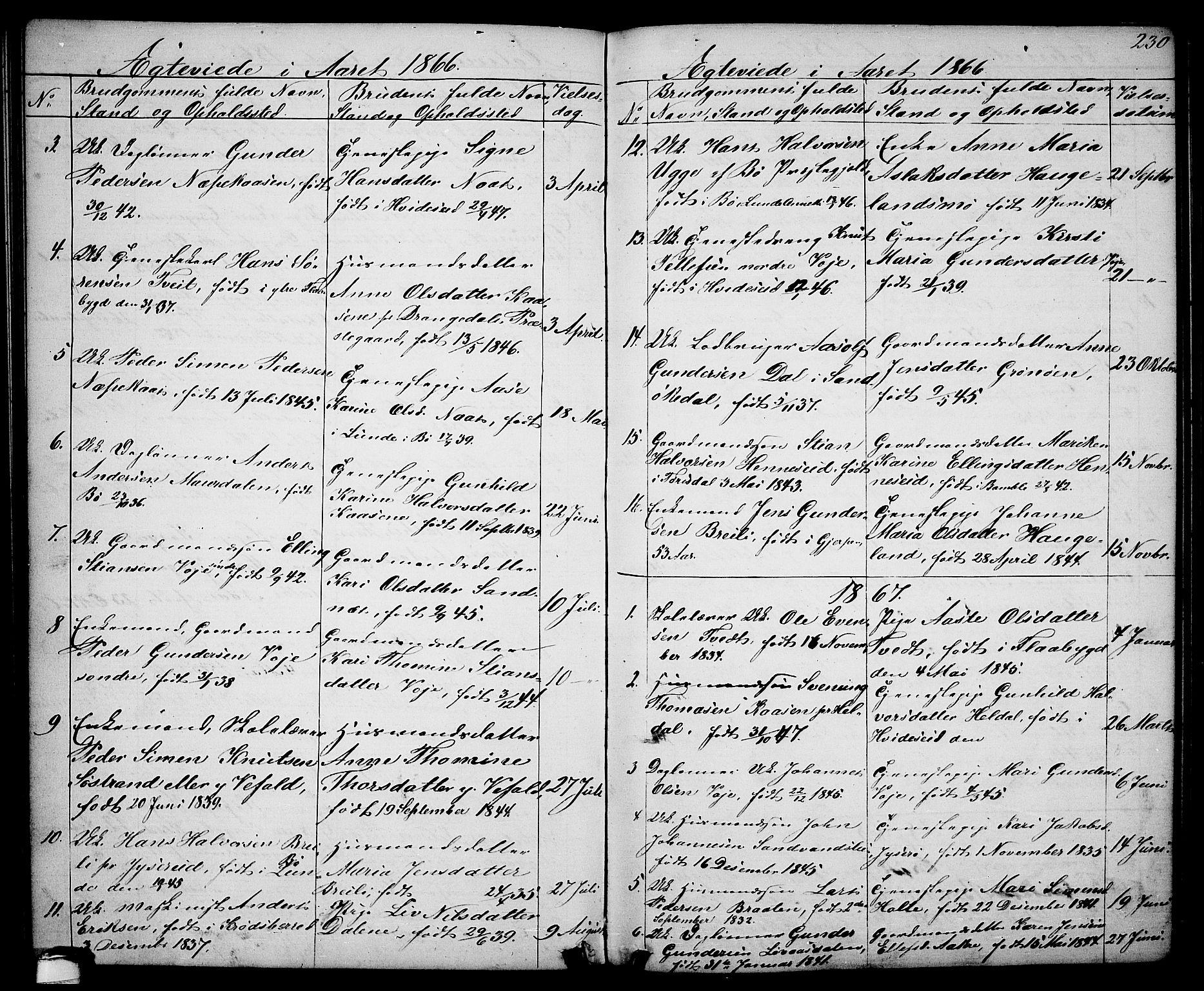 SAKO, Drangedal kirkebøker, G/Ga/L0002: Klokkerbok nr. I 2, 1856-1887, s. 230