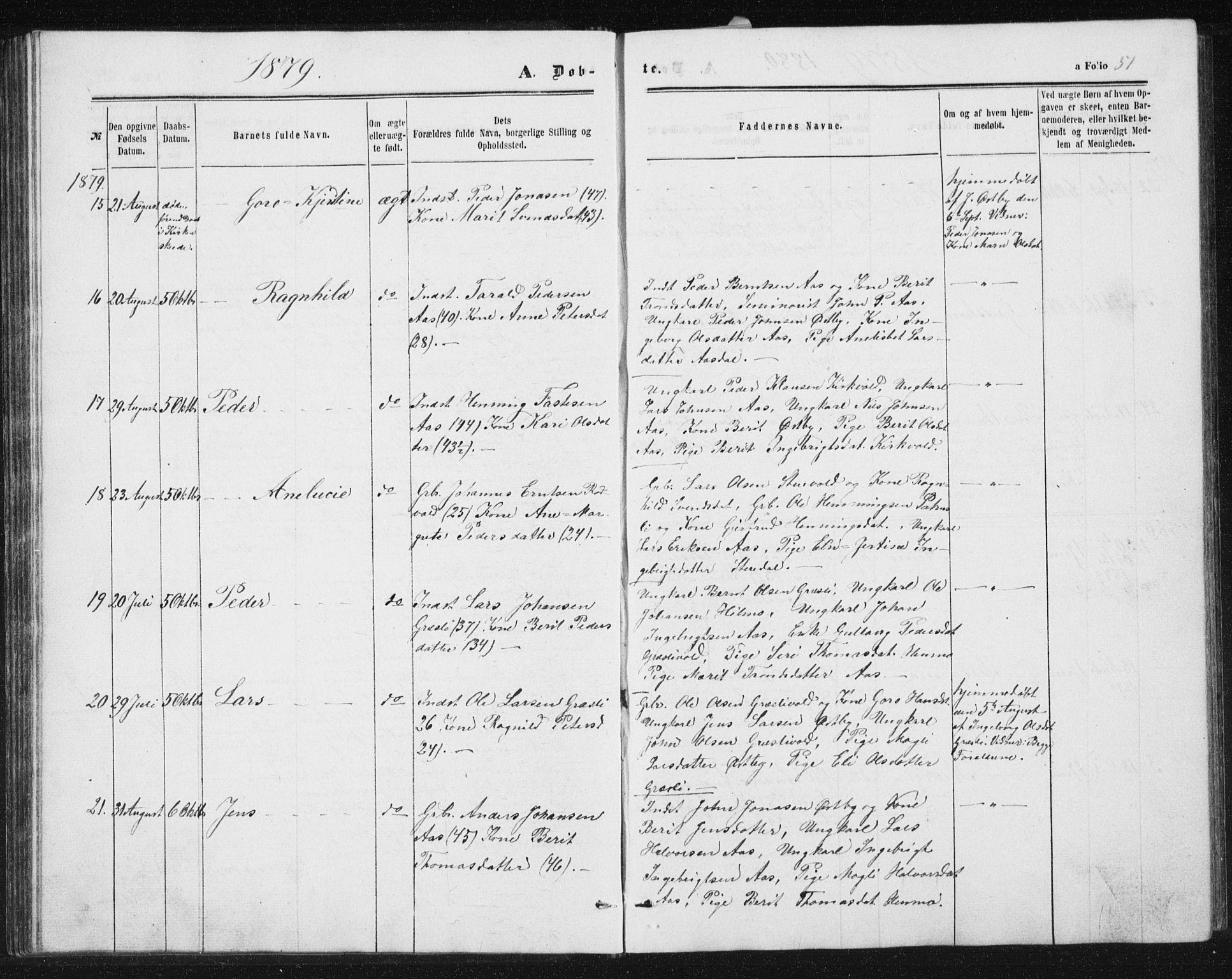 SAT, Ministerialprotokoller, klokkerbøker og fødselsregistre - Sør-Trøndelag, 698/L1166: Klokkerbok nr. 698C03, 1861-1887, s. 51