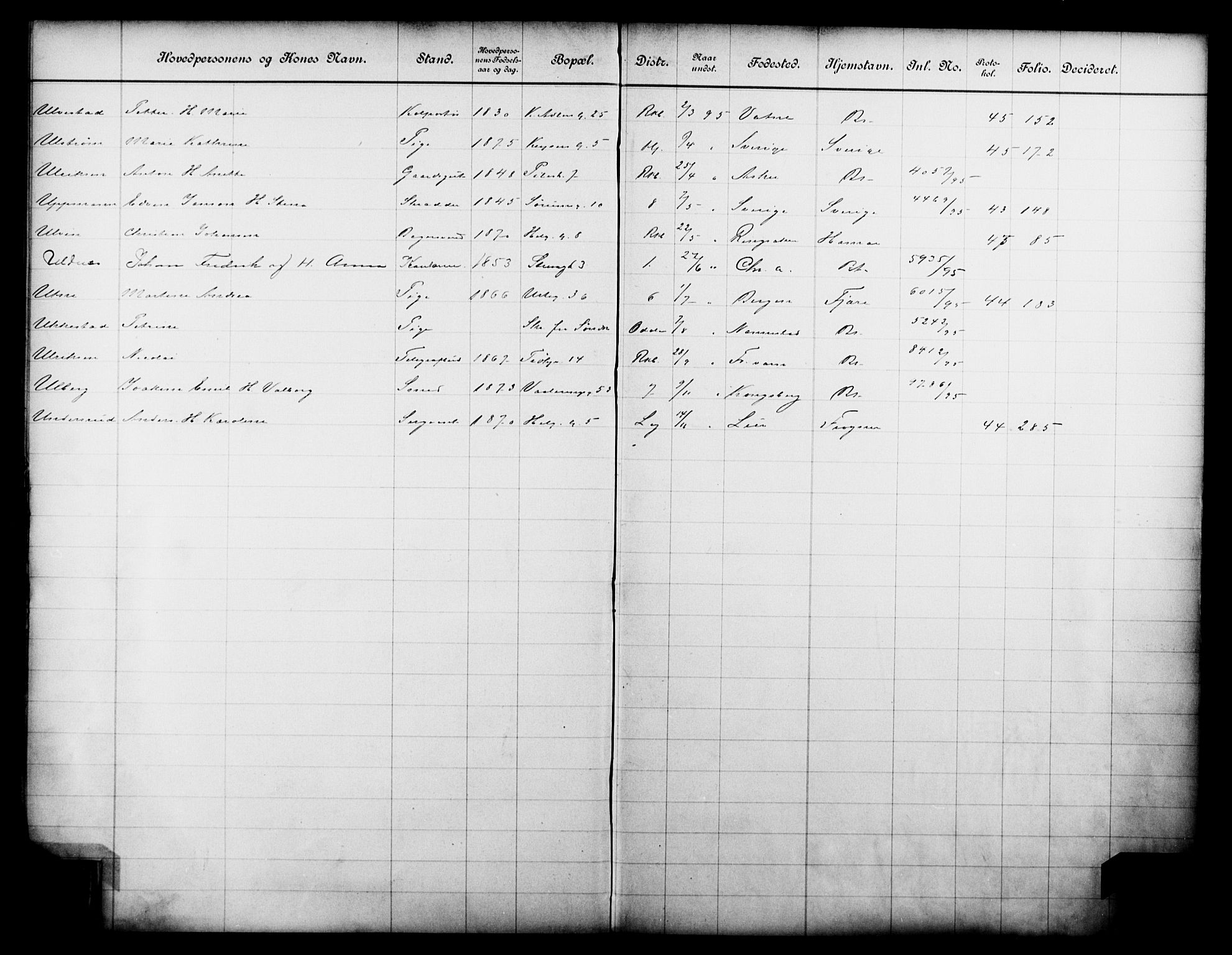 OBA, Fattigvesenet, Fb/L0015: Hjemstavnsregister, 1895, s. 169
