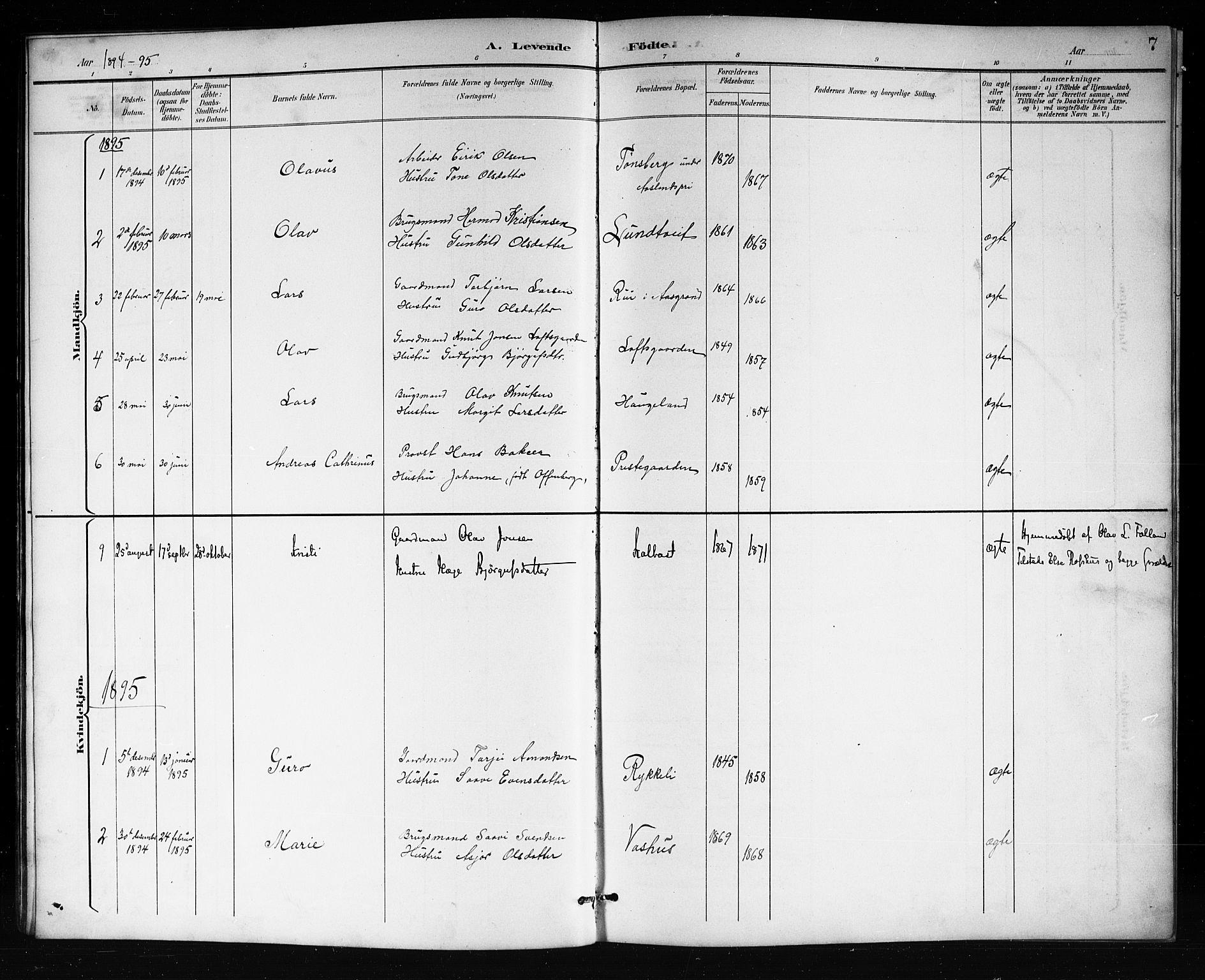 SAKO, Mo kirkebøker, G/Ga/L0002: Klokkerbok nr. I 2, 1892-1914, s. 7