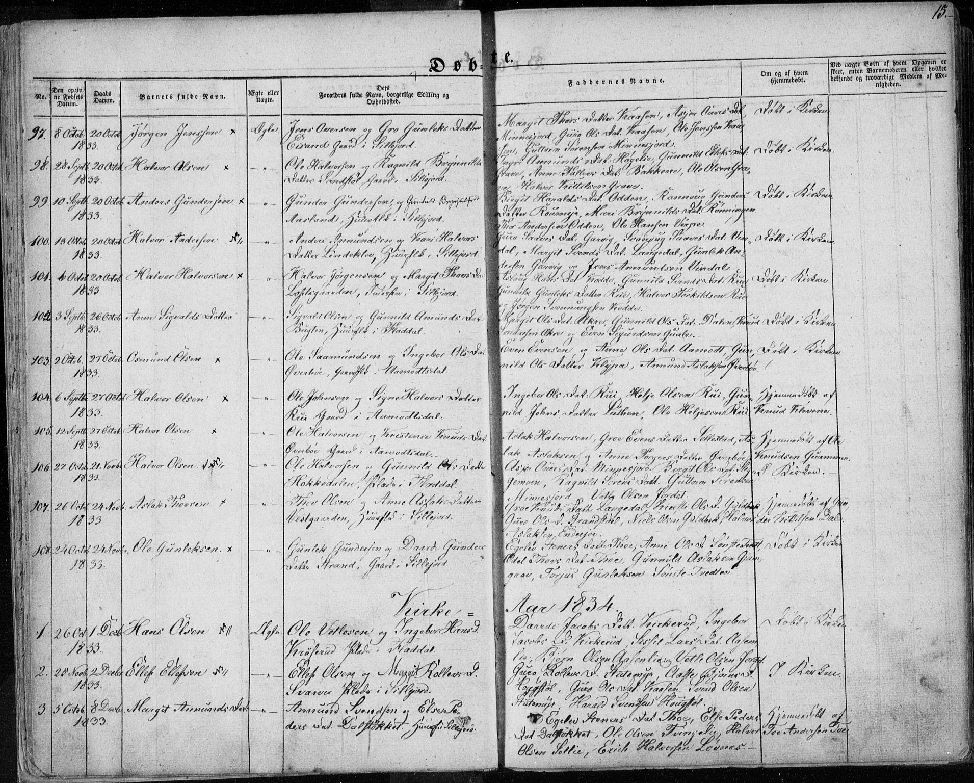 SAKO, Seljord kirkebøker, F/Fa/L0011: Ministerialbok nr. I 11, 1831-1849, s. 15