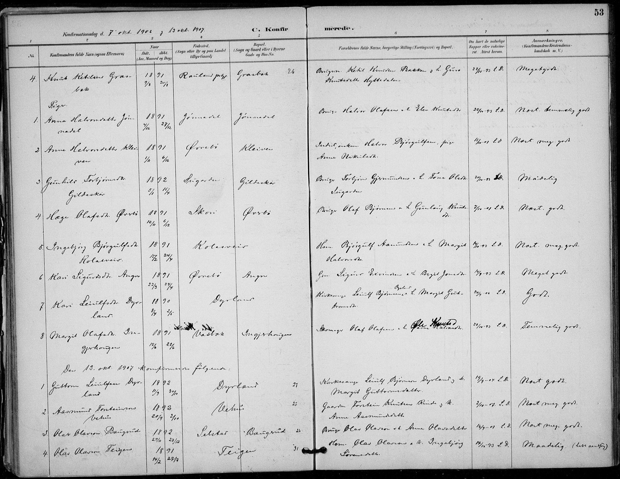 SAKO, Seljord kirkebøker, F/Fc/L0002: Ministerialbok nr. III 2, 1887-1920, s. 53