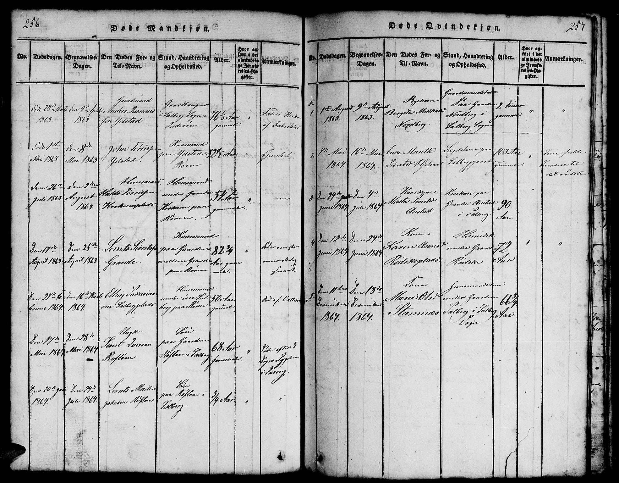 SAT, Ministerialprotokoller, klokkerbøker og fødselsregistre - Nord-Trøndelag, 731/L0310: Klokkerbok nr. 731C01, 1816-1874, s. 256-257