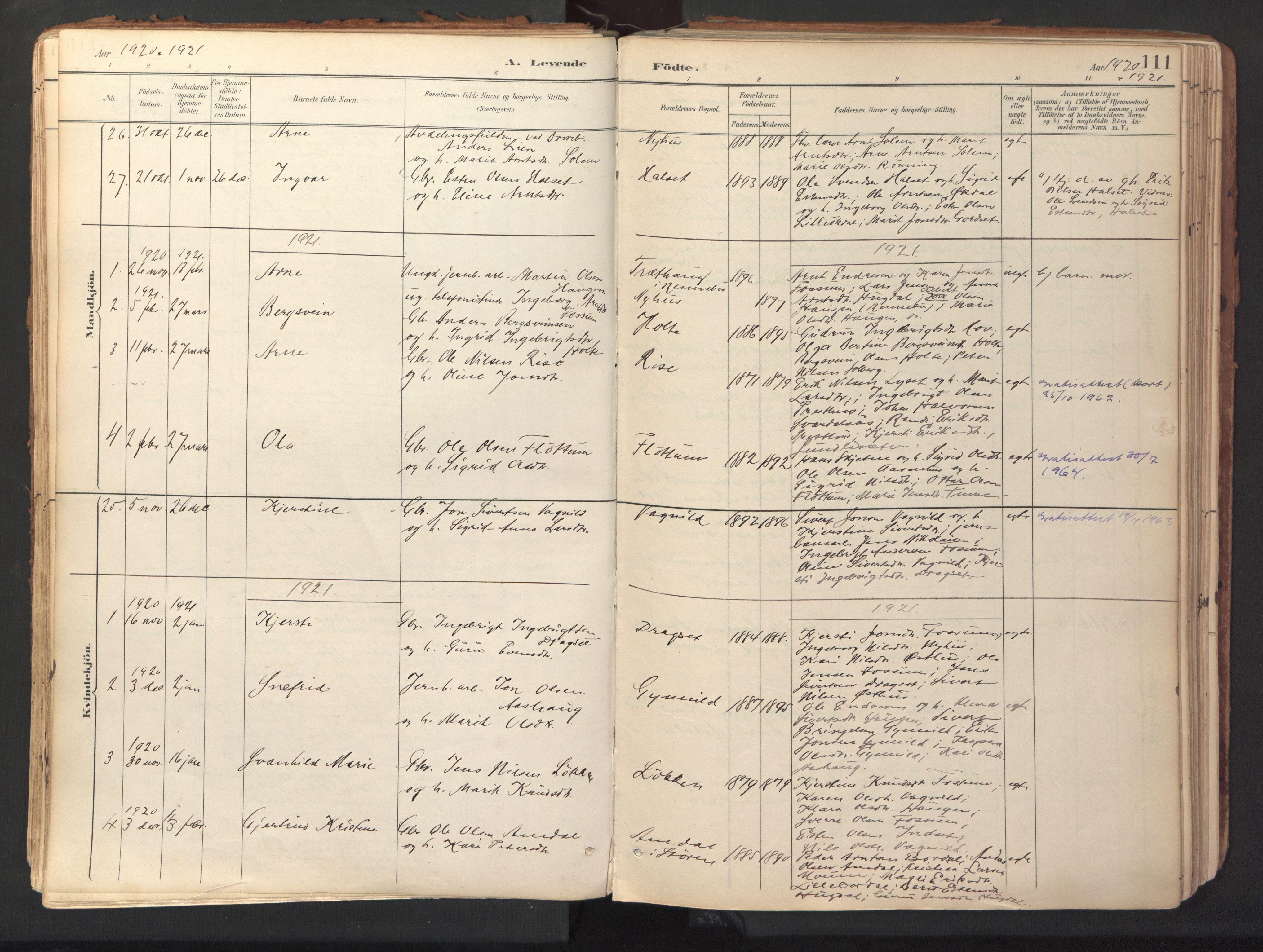 SAT, Ministerialprotokoller, klokkerbøker og fødselsregistre - Sør-Trøndelag, 689/L1041: Ministerialbok nr. 689A06, 1891-1923, s. 111