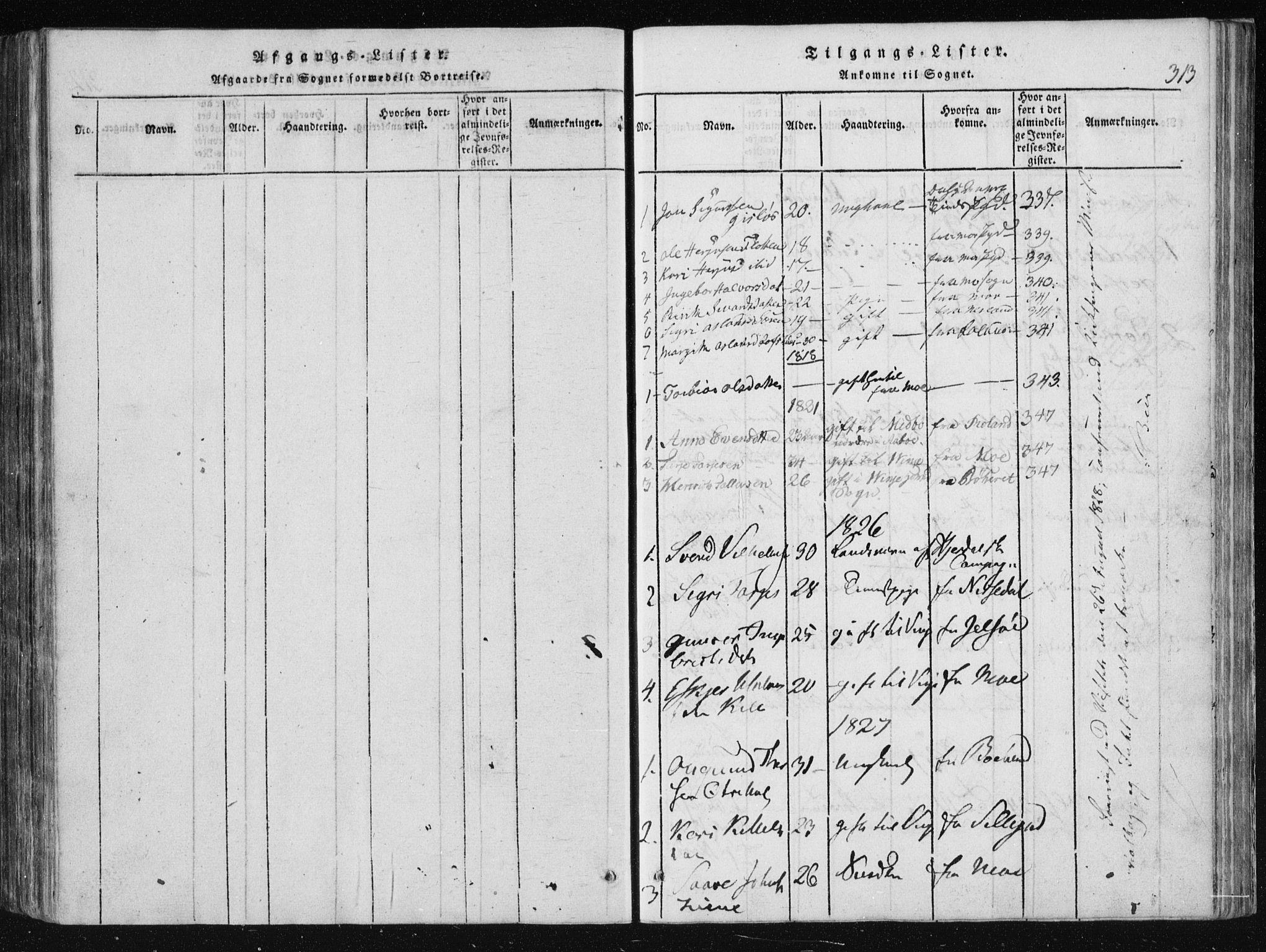 SAKO, Vinje kirkebøker, F/Fa/L0003: Ministerialbok nr. I 3, 1814-1843, s. 313