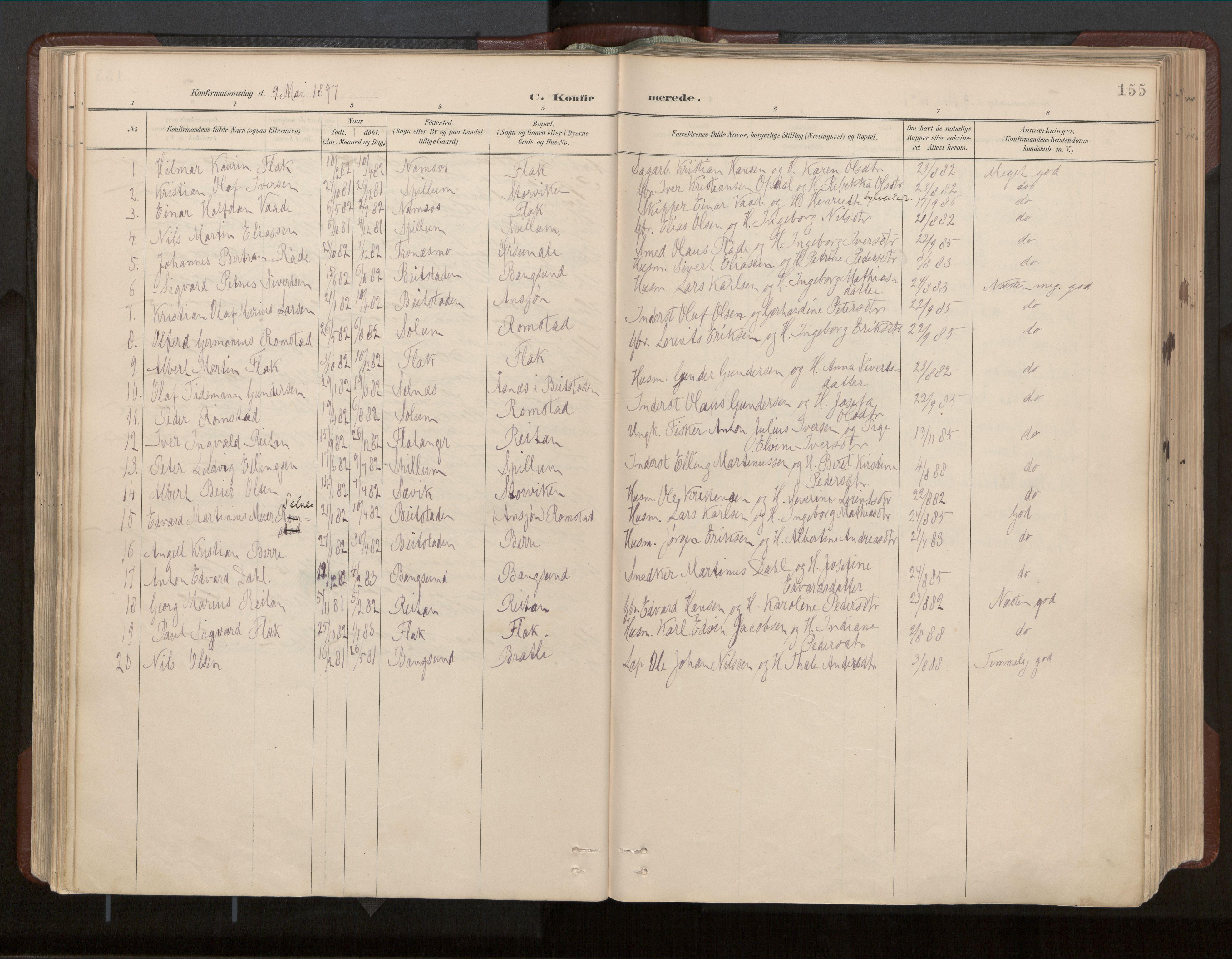 SAT, Ministerialprotokoller, klokkerbøker og fødselsregistre - Nord-Trøndelag, 770/L0589: Ministerialbok nr. 770A03, 1887-1929, s. 155
