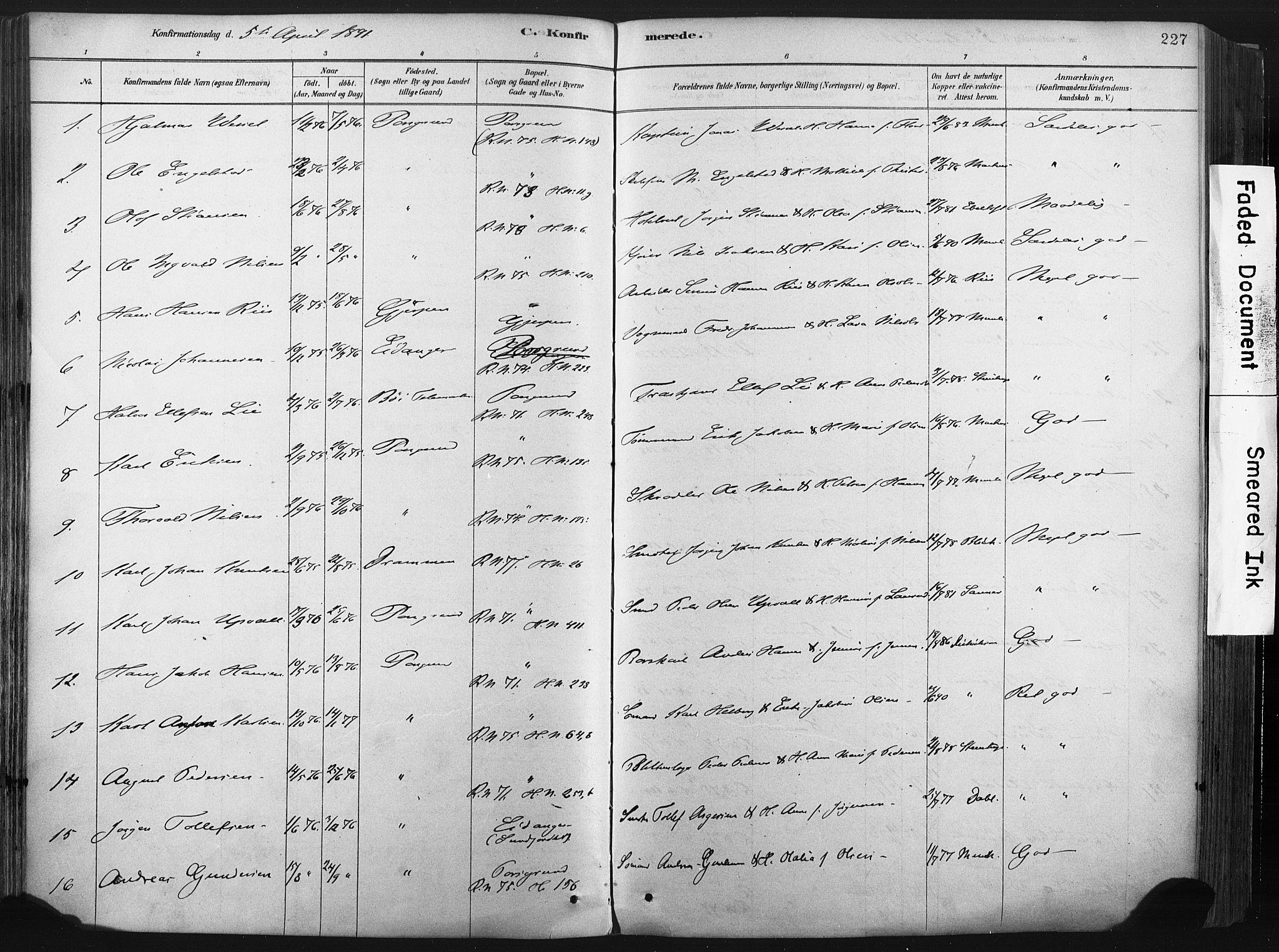 SAKO, Porsgrunn kirkebøker , F/Fa/L0008: Ministerialbok nr. 8, 1878-1895, s. 227