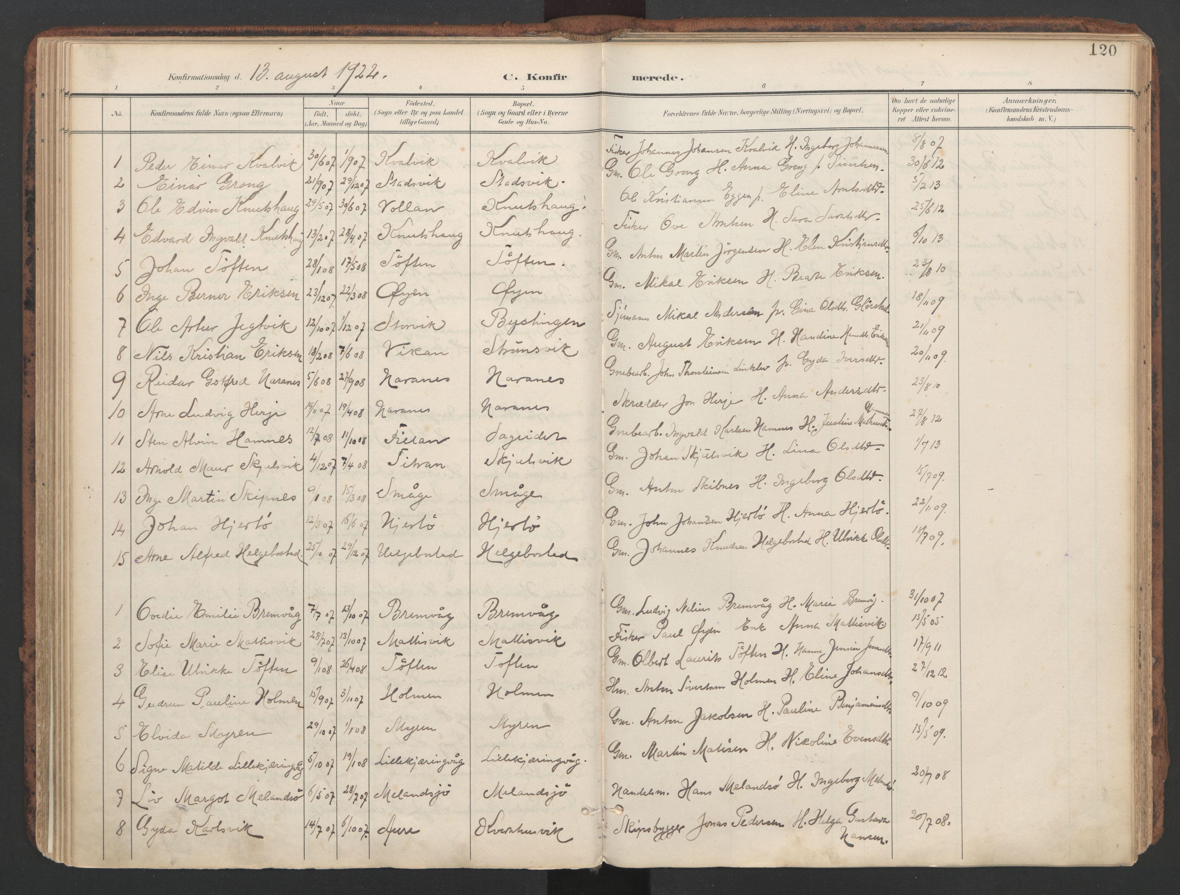SAT, Ministerialprotokoller, klokkerbøker og fødselsregistre - Sør-Trøndelag, 634/L0537: Ministerialbok nr. 634A13, 1896-1922, s. 120