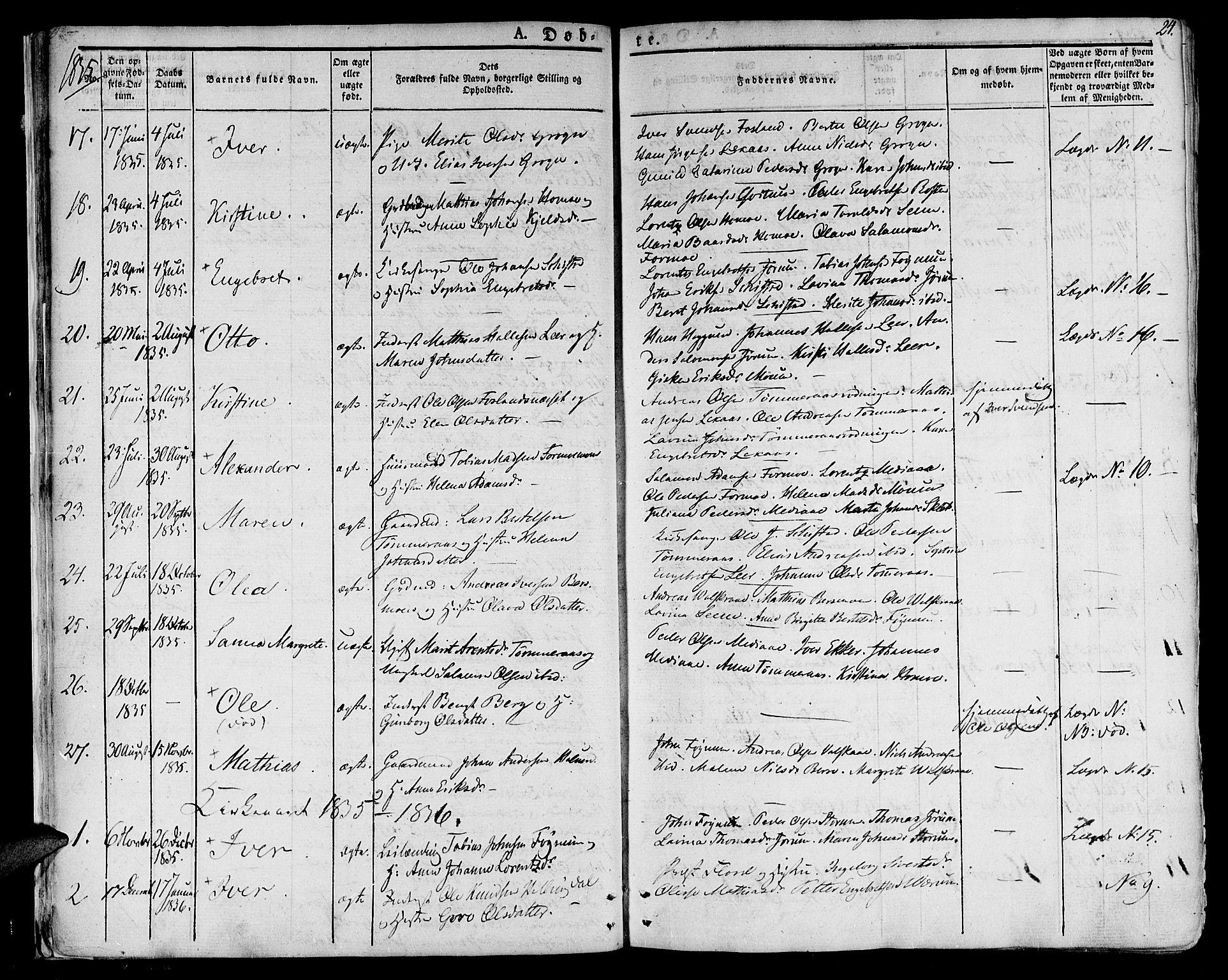 SAT, Ministerialprotokoller, klokkerbøker og fødselsregistre - Nord-Trøndelag, 758/L0510: Ministerialbok nr. 758A01 /1, 1821-1841, s. 24