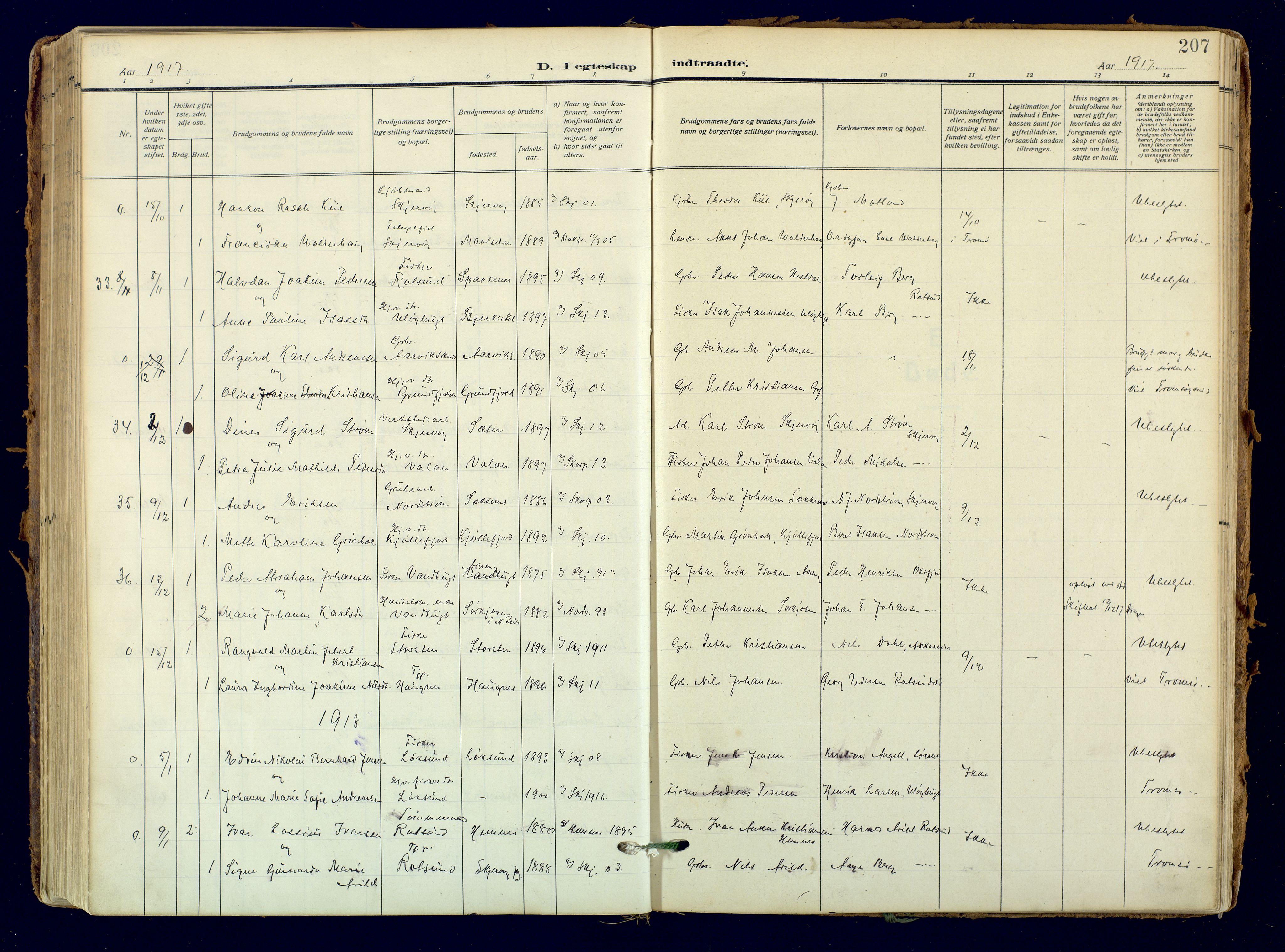 SATØ, Skjervøy sokneprestkontor, H/Ha/Haa: Ministerialbok nr. 18, 1910-1926, s. 207