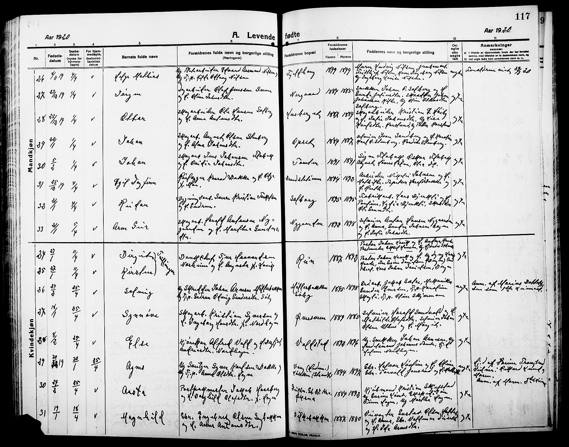 SAH, Elverum prestekontor, H/Ha/Hab/L0010: Klokkerbok nr. 10, 1912-1922, s. 117