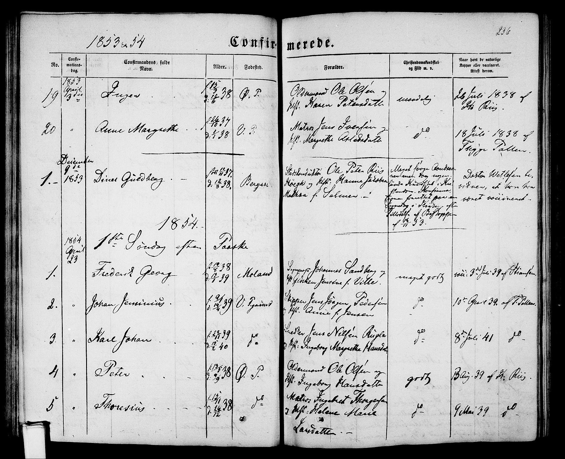 SAKO, Porsgrunn kirkebøker , G/Gb/L0004: Klokkerbok nr. II 4, 1853-1882, s. 236