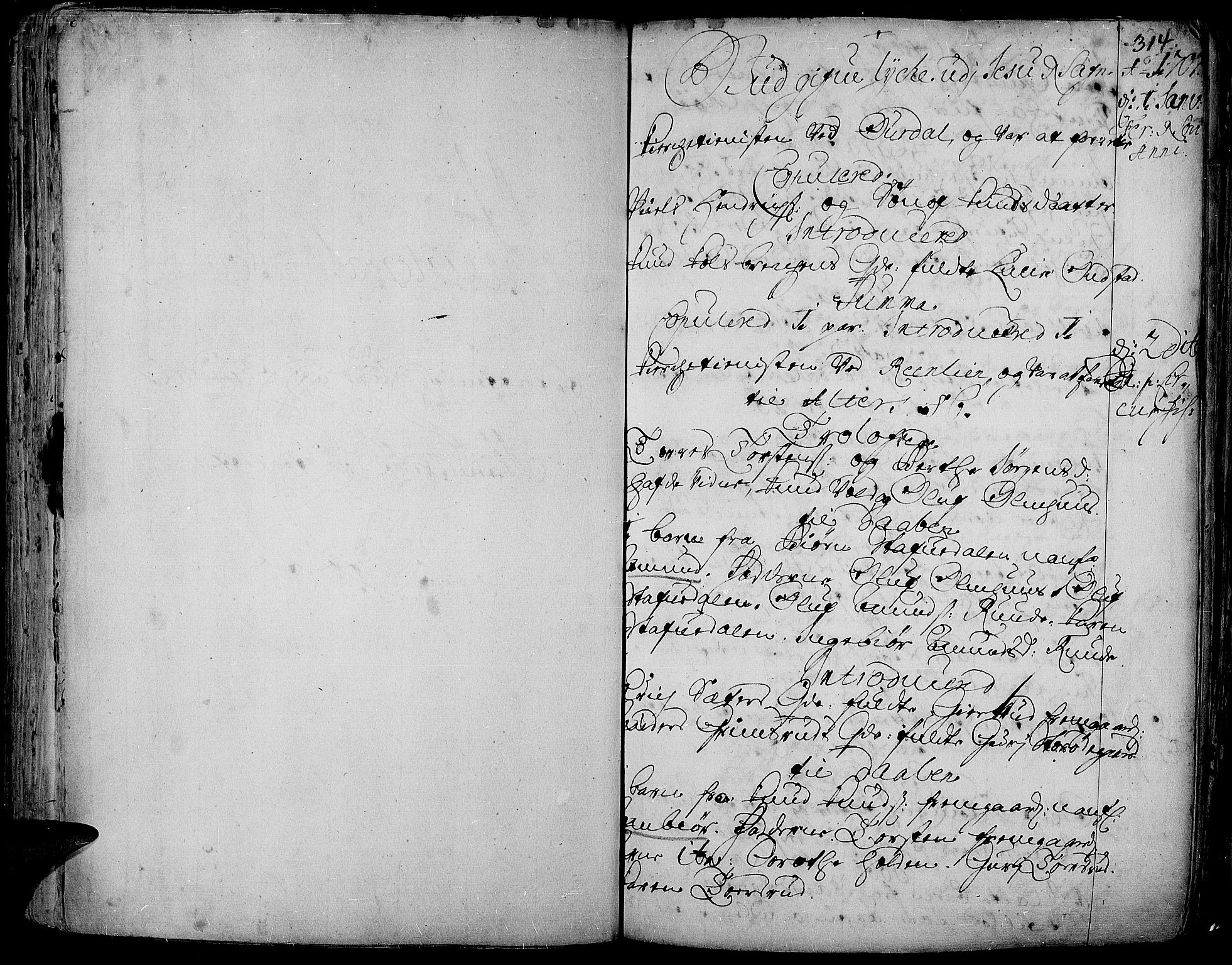 SAH, Aurdal prestekontor, Ministerialbok nr. 1-3, 1692-1730, s. 314