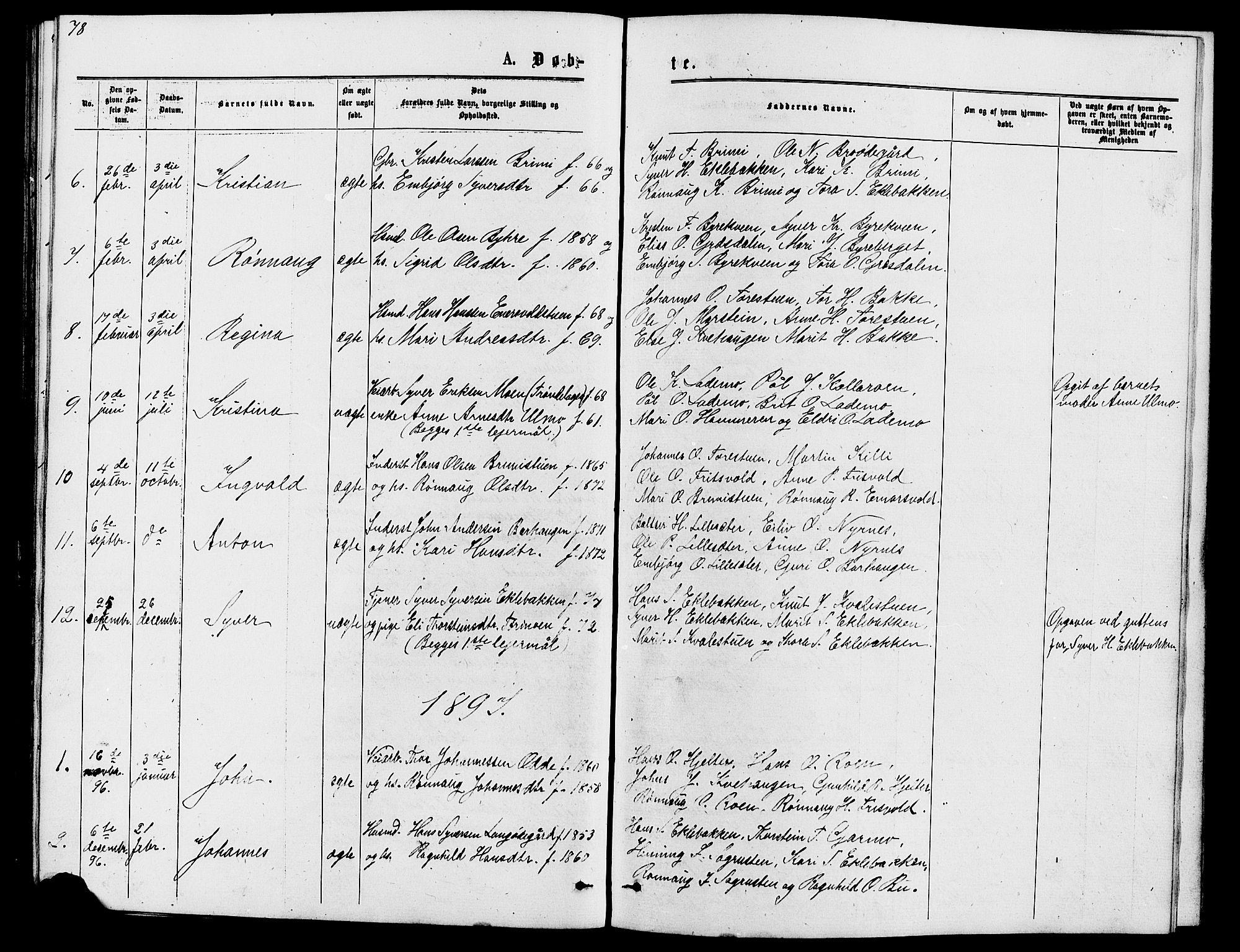 SAH, Lom prestekontor, L/L0005: Klokkerbok nr. 5, 1876-1901, s. 78-79