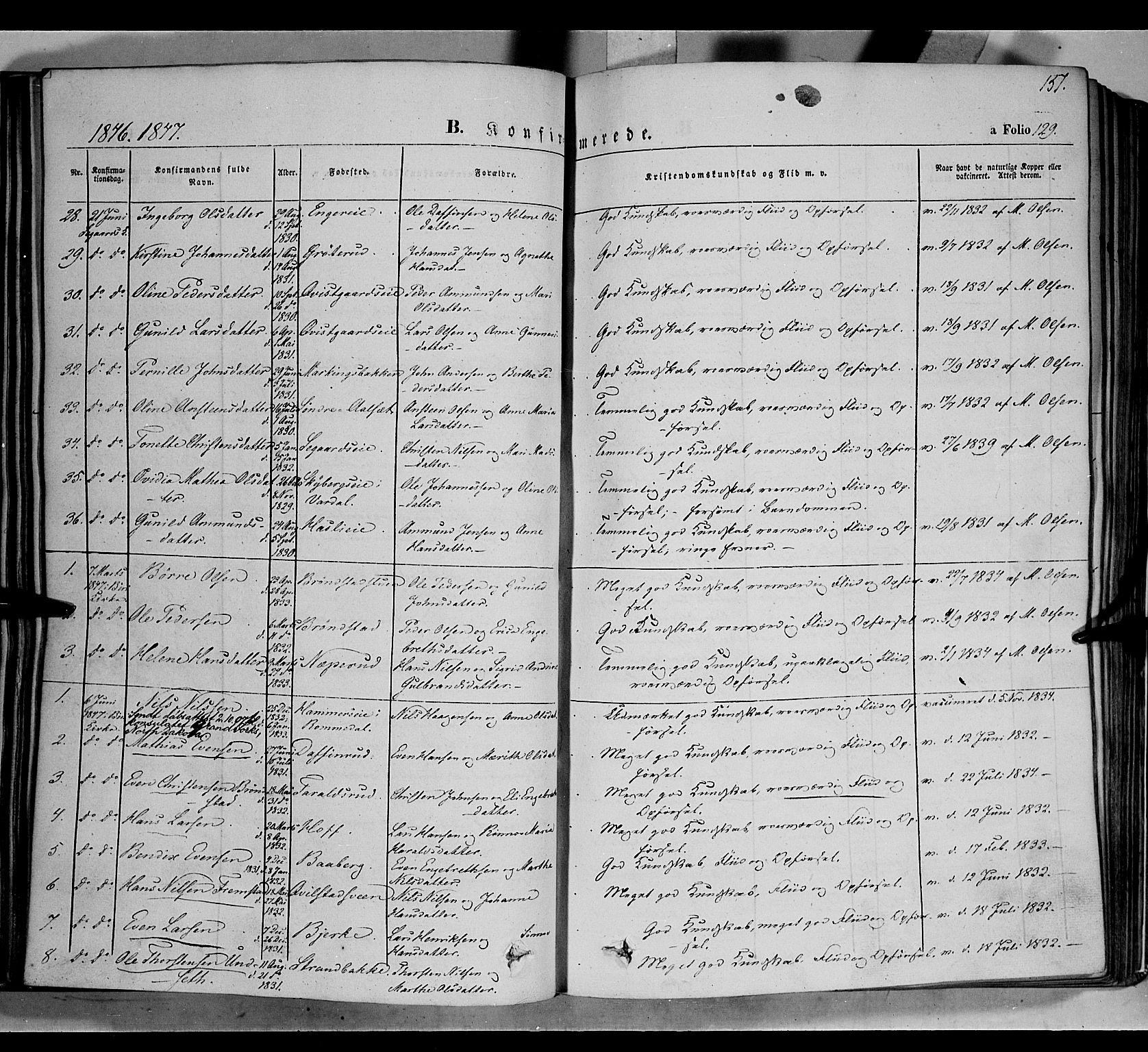 SAH, Biri prestekontor, Ministerialbok nr. 5, 1843-1854, s. 151