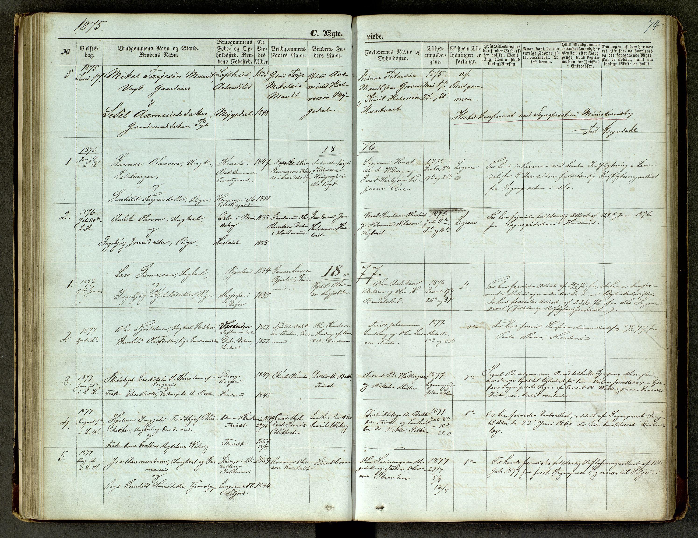 SAKO, Lårdal kirkebøker, G/Ga/L0002: Klokkerbok nr. I 2, 1861-1890, s. 74